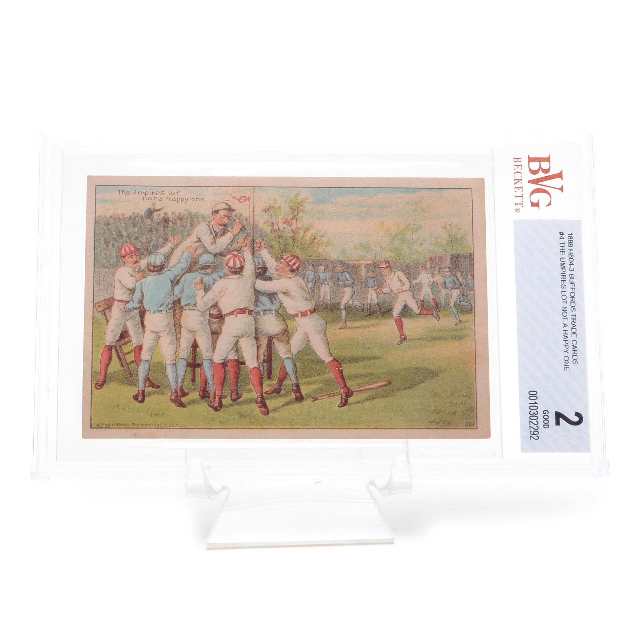 "1888 ""The Umpire Not Happy"" Professionally Graded Trade Card"