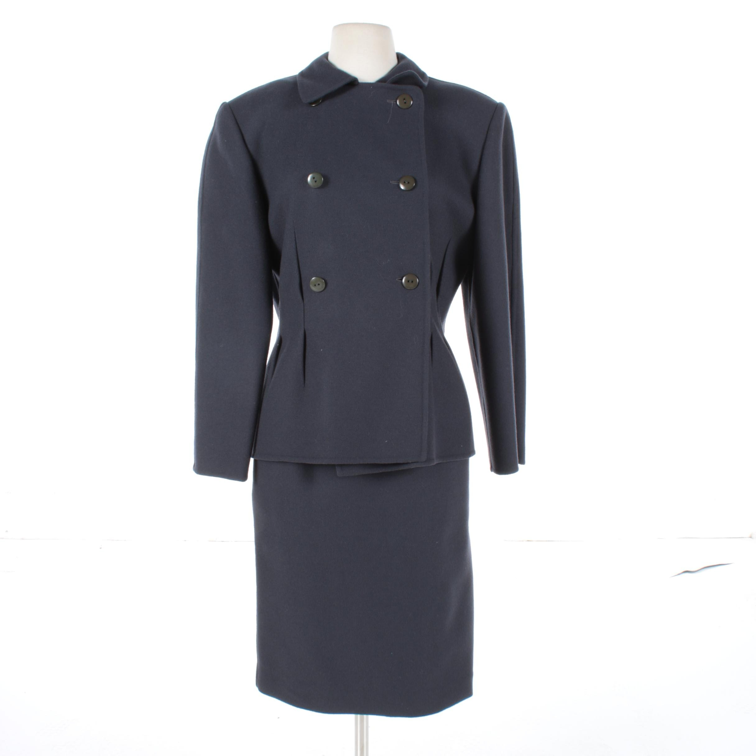 Salvatore Ferragamo Double-Breasted Wool Skirt Suit