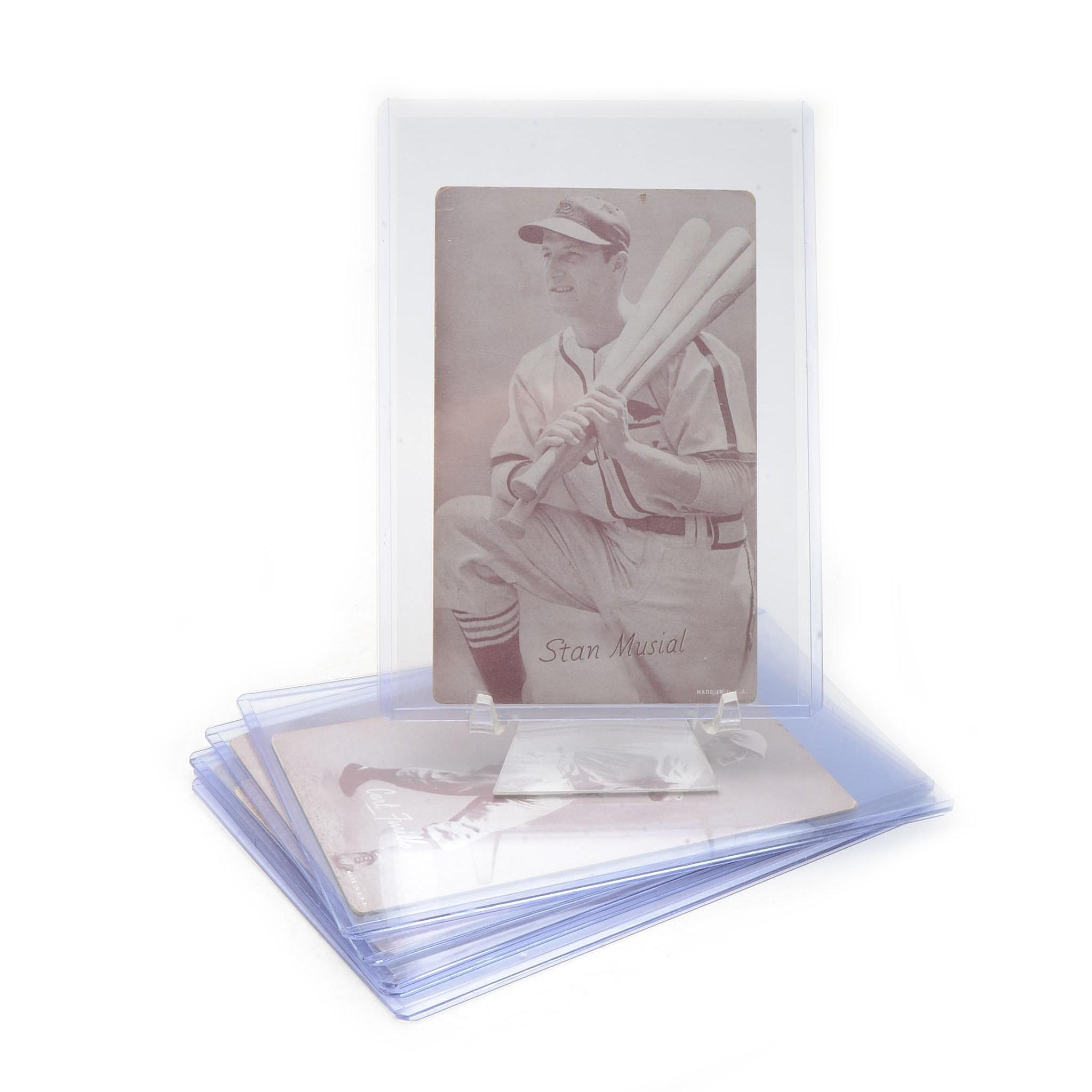 Six 1940s Exhibit Baseball Cards