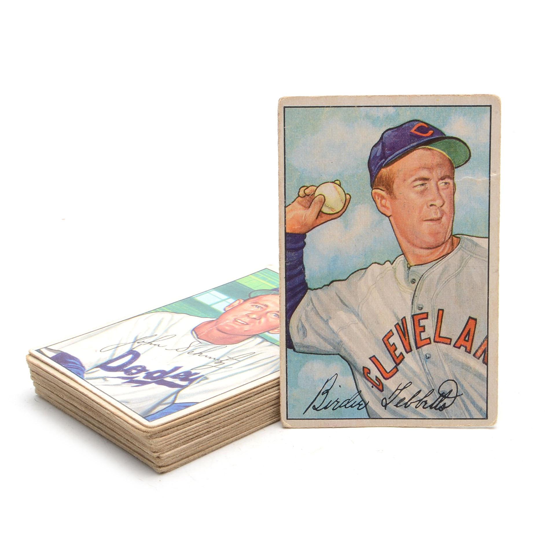 Seventeen 1952 Bowman Baseball Cards