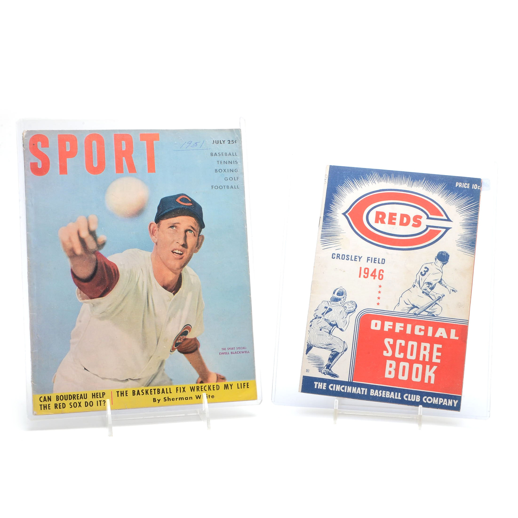 1946 Reds Scorecard and a 1951 Sports Magazine