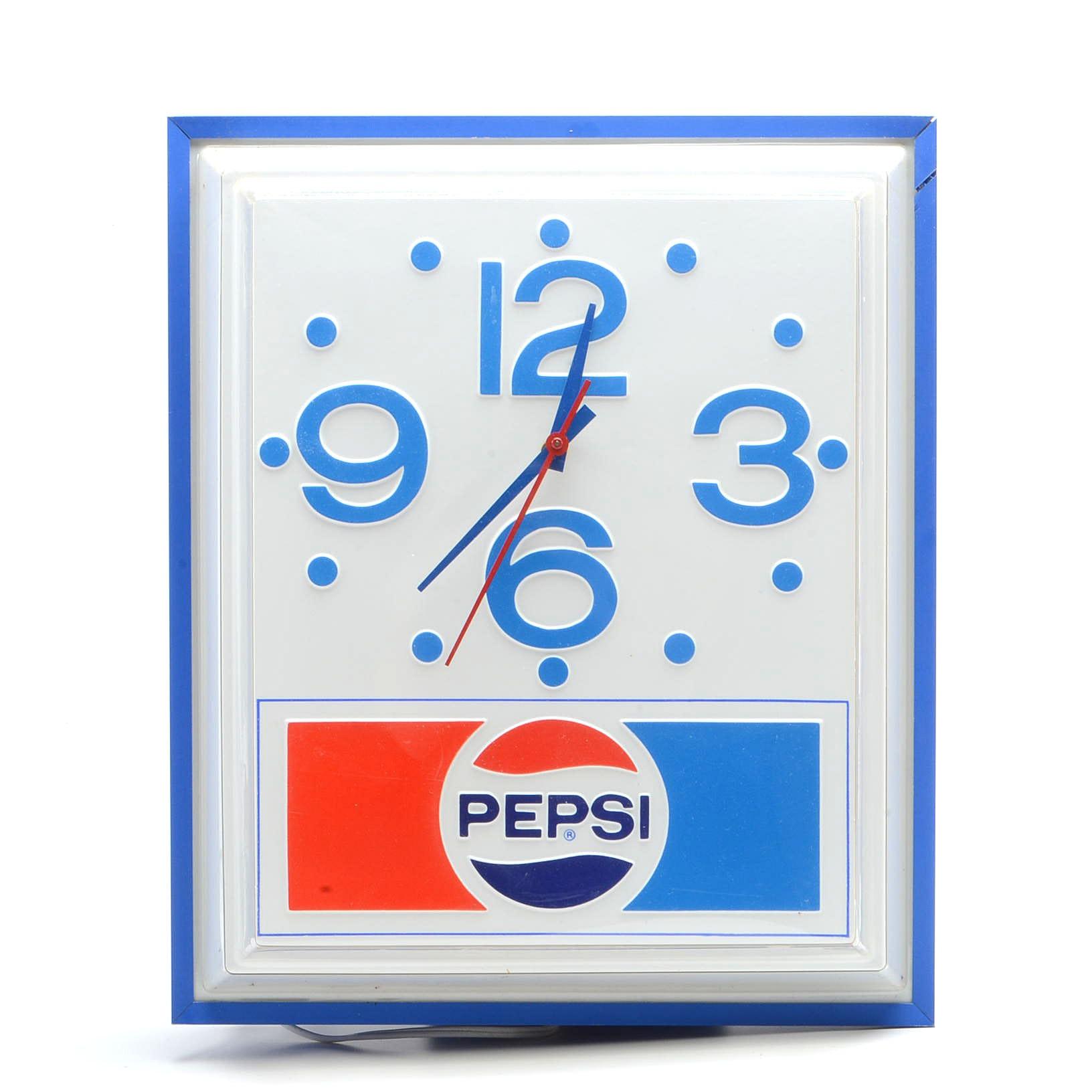 "Vintage Light-Up ""Pepsi-Cola"" Wall Clock"