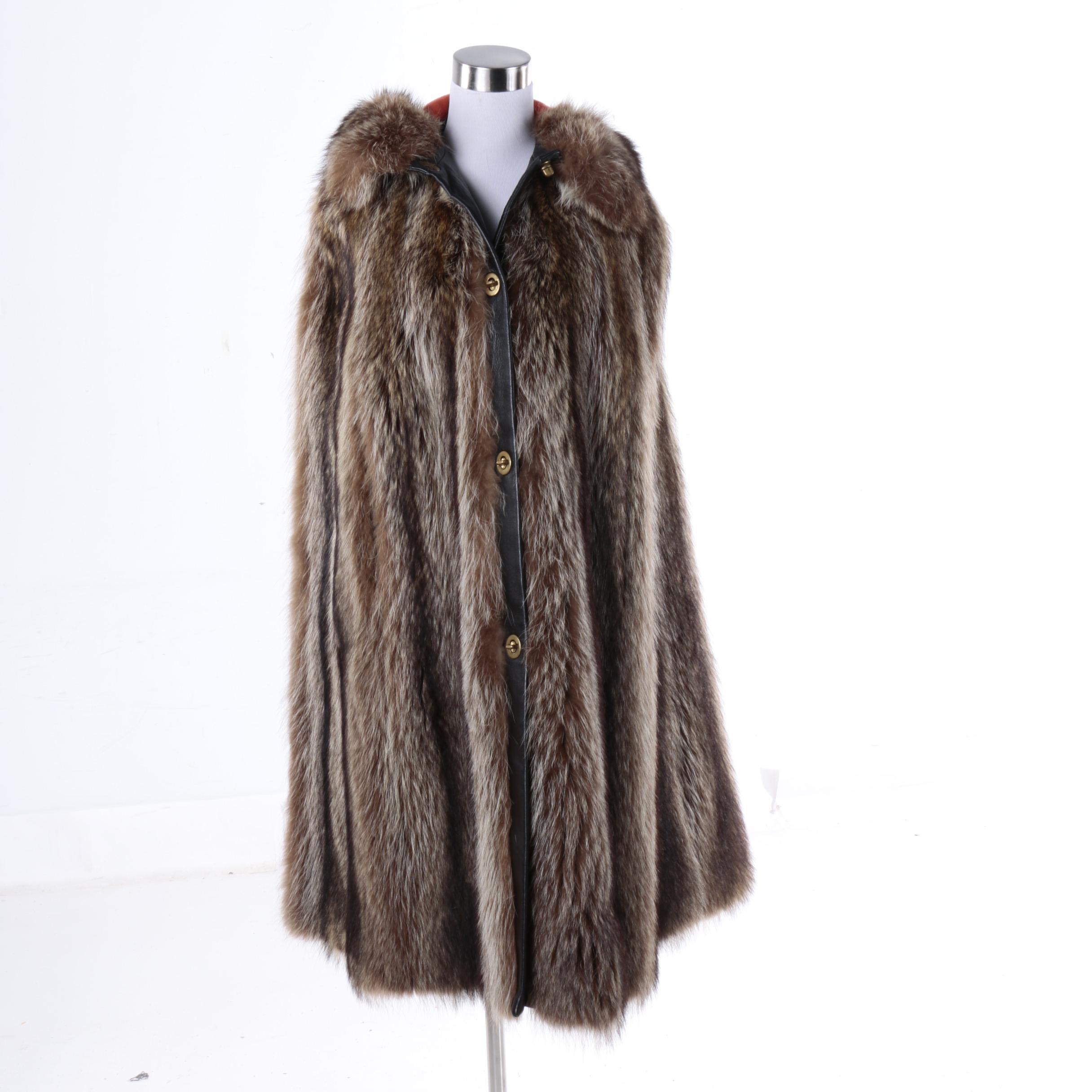 Vintage Bergdorf Goodman Raccoon Fur Hooded Cape
