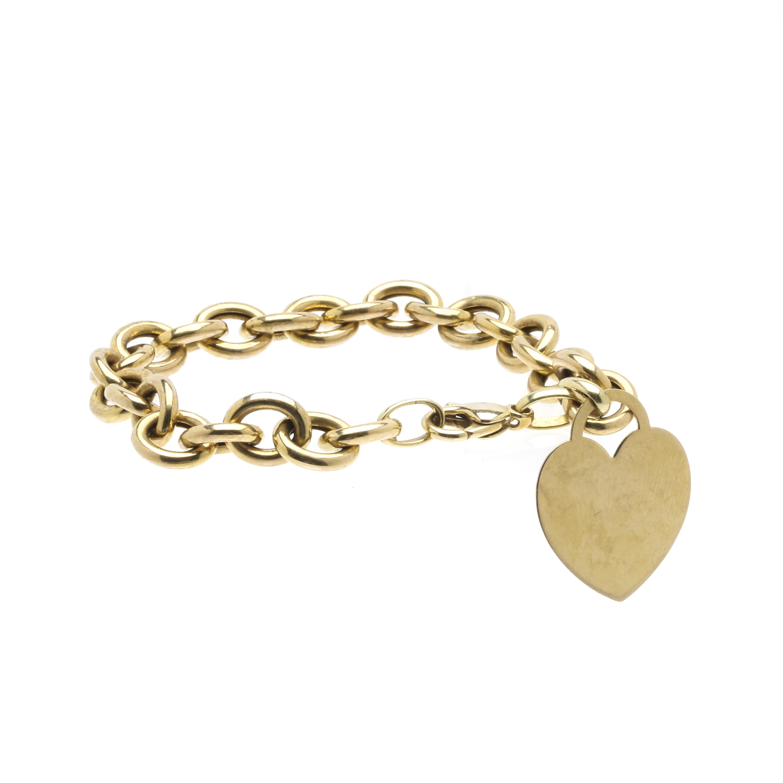 14K Yellow Gold Heart Charm Bracelet
