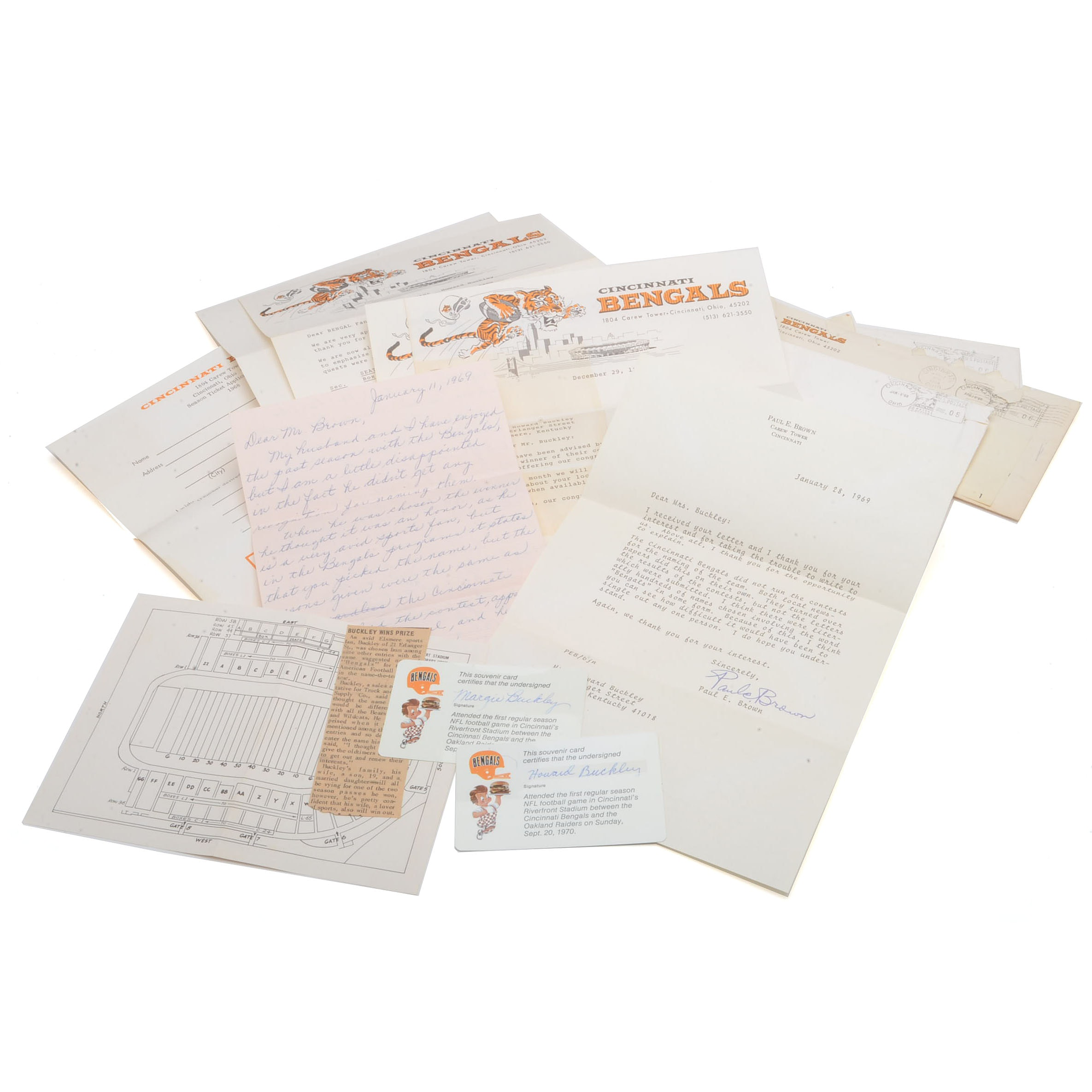 1968-69 Bengals Paul Brown Correspondence Letters
