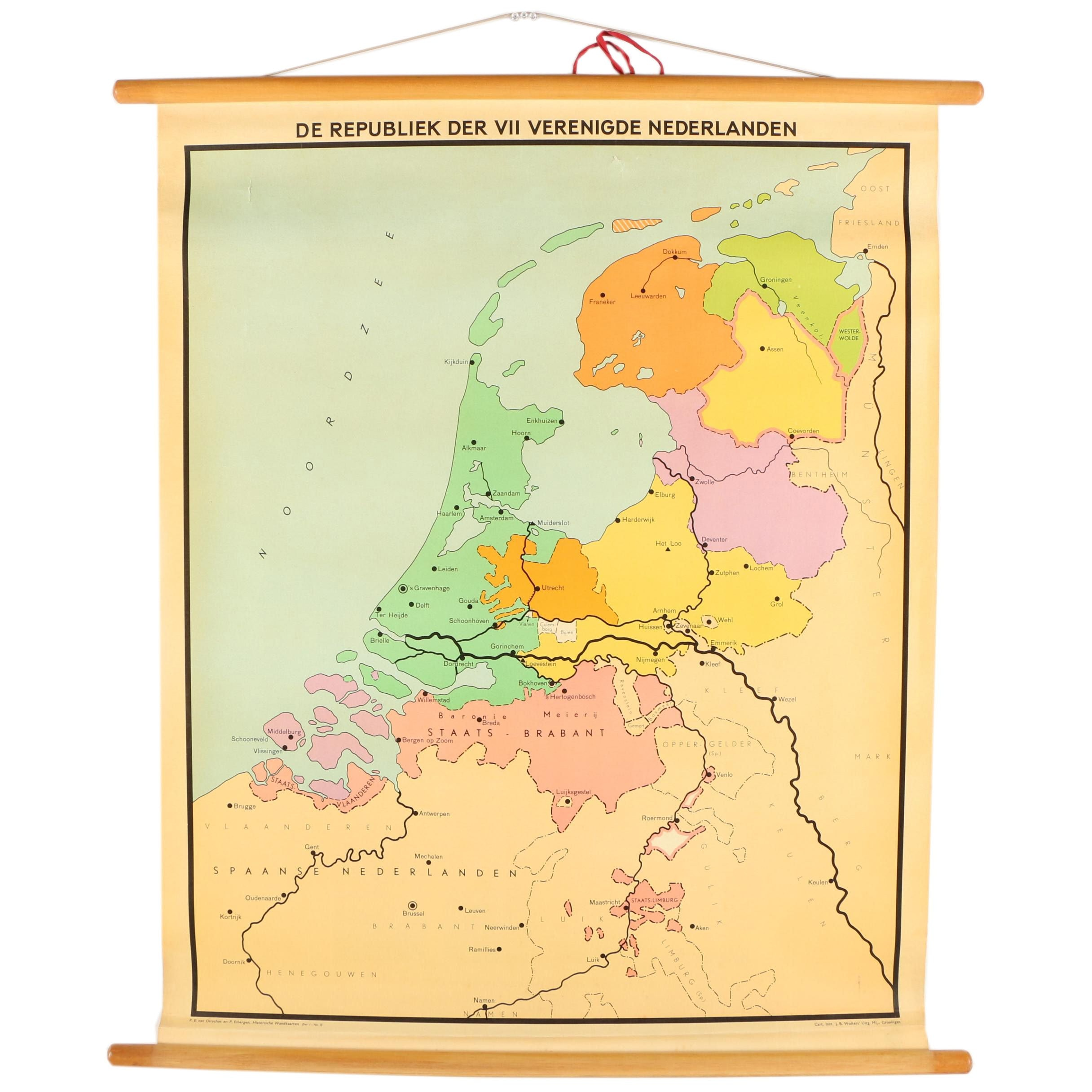 Dutch Language School Roll-Down Map of the Netherlands