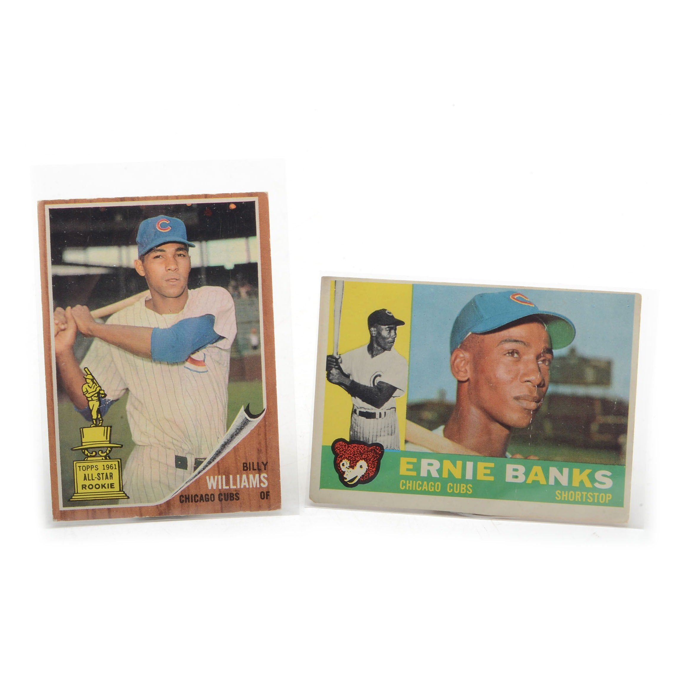 1960 Ernie Banks and 1962 Billy Williams Topps Cards