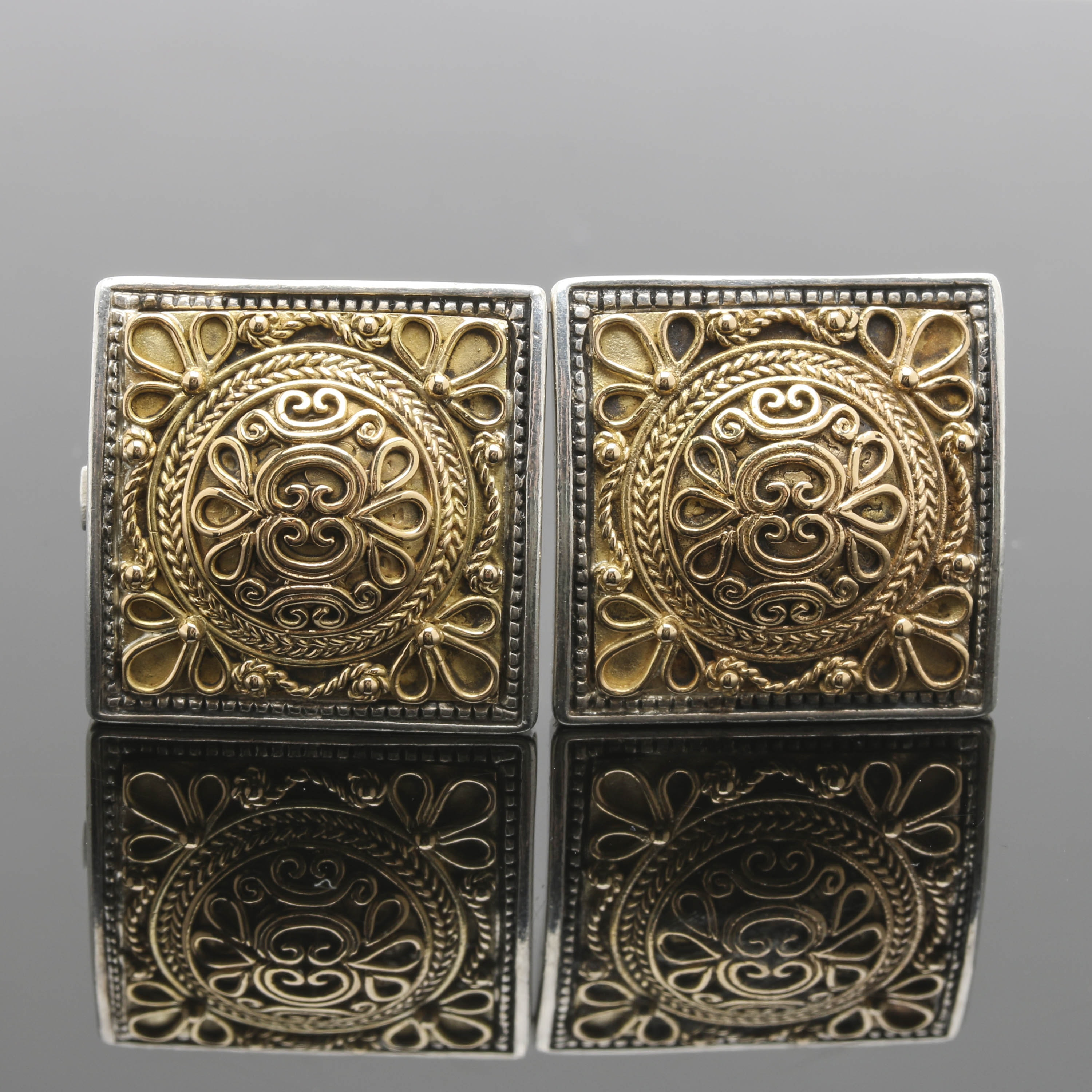 Konstantino Sterling Silver and 18K Yellow Gold Clip On Earrings