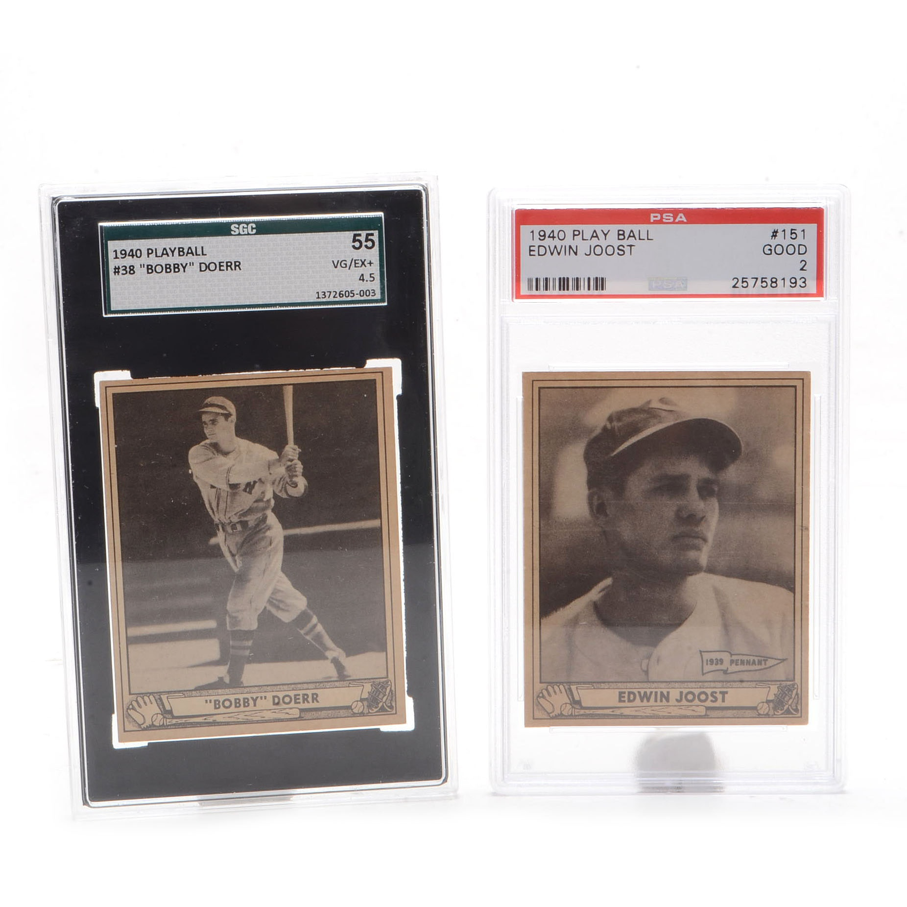 1940 Bobby Doerr and Edwin Joost Graded Playball Cards