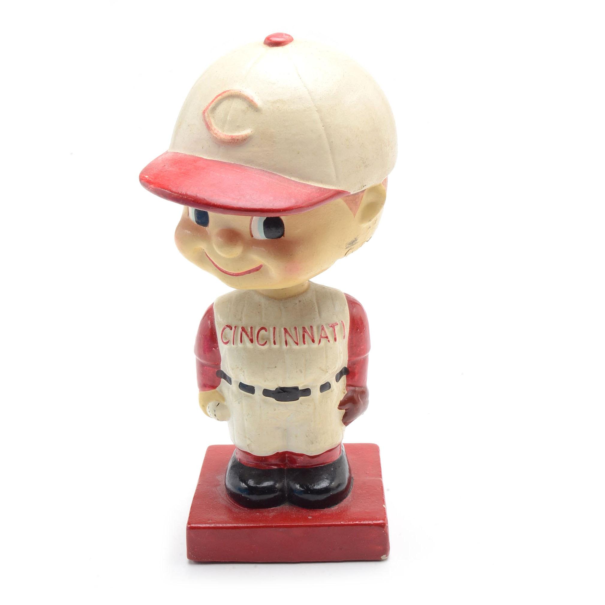 "Early 1960s Cincinnati Reds ""Boy Head"" Baseball Nodder"