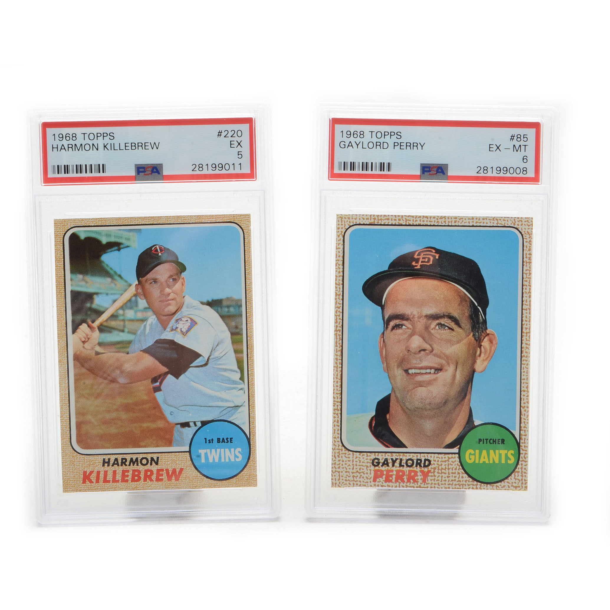 1968 Topps Perry and Killebrew PSA Graded Cards