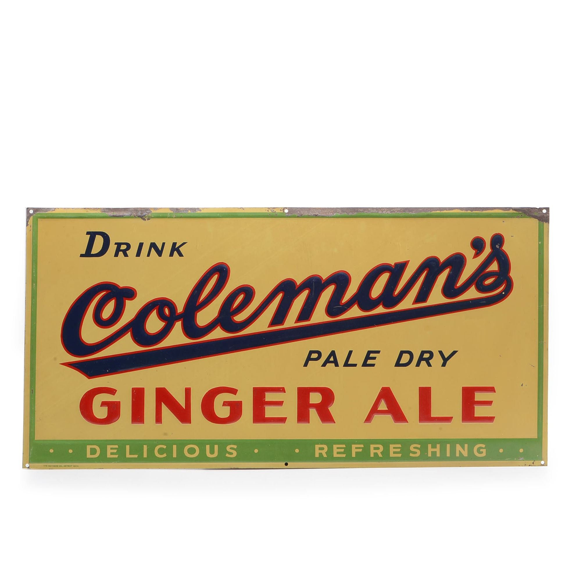 Coleman's Ginger Ale Metal Sign