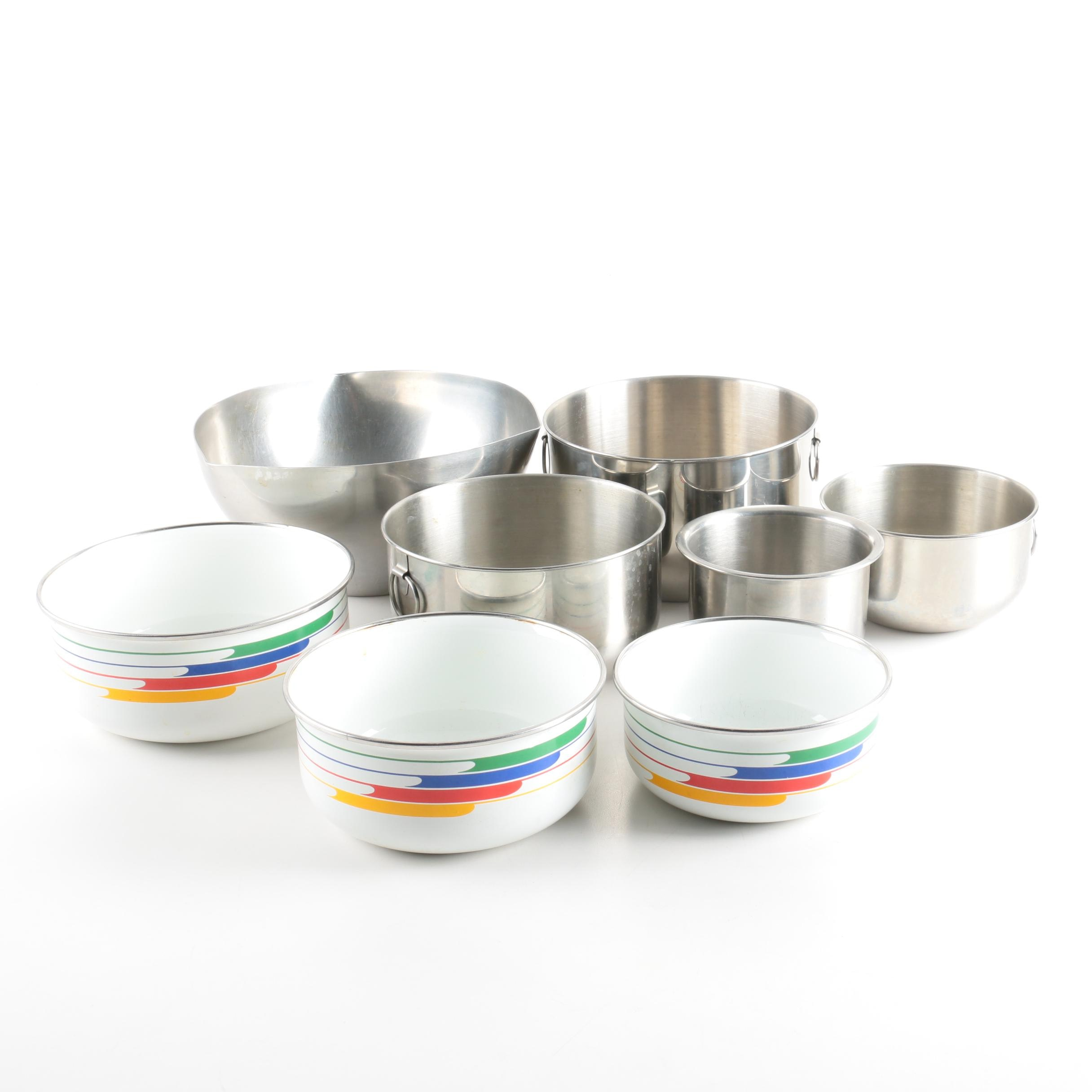 Stainless Steel and Enamelware Mixing Bowls by Various Makers