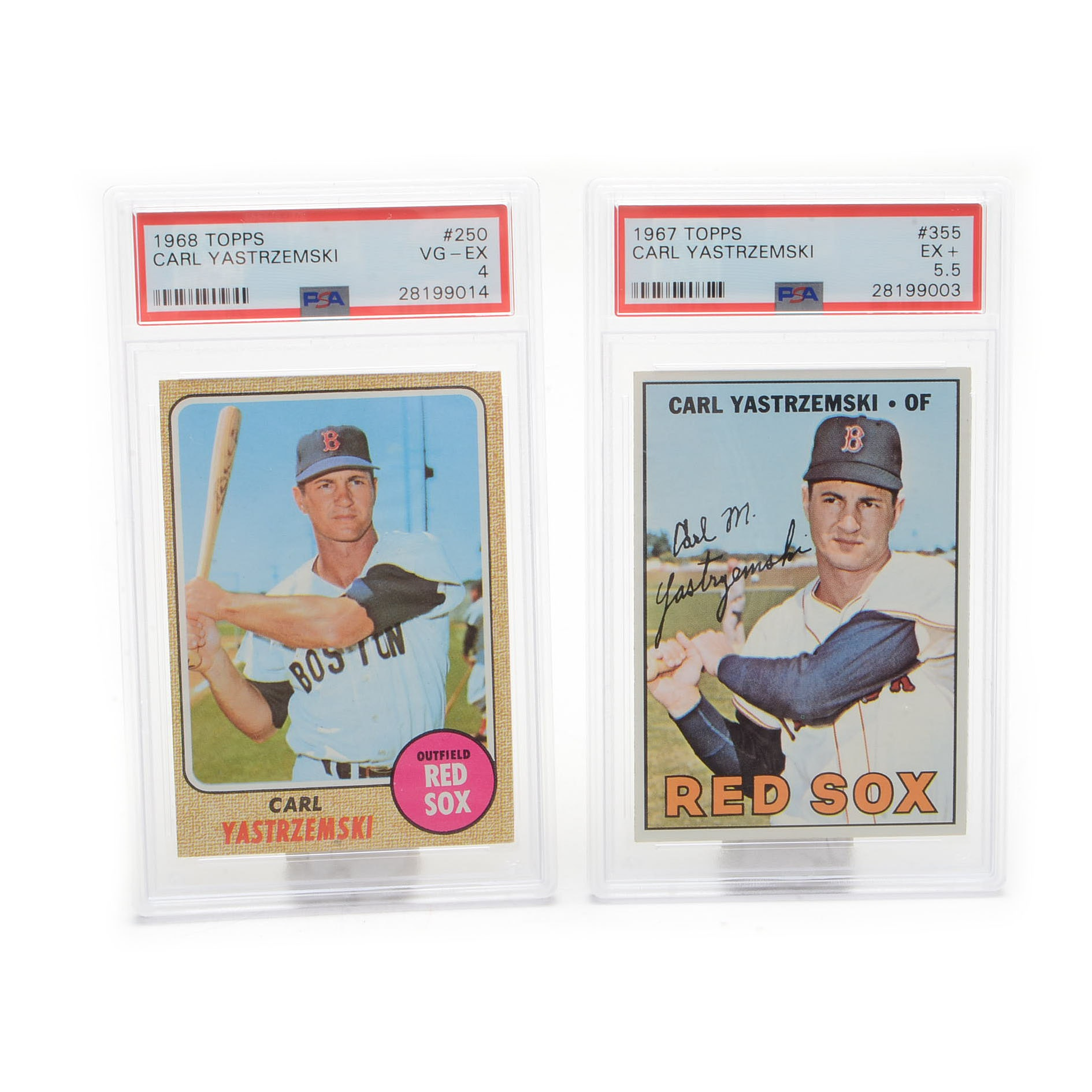 1967 and 1968 Carl Yastrzemski PSA Graded Baseball Cards