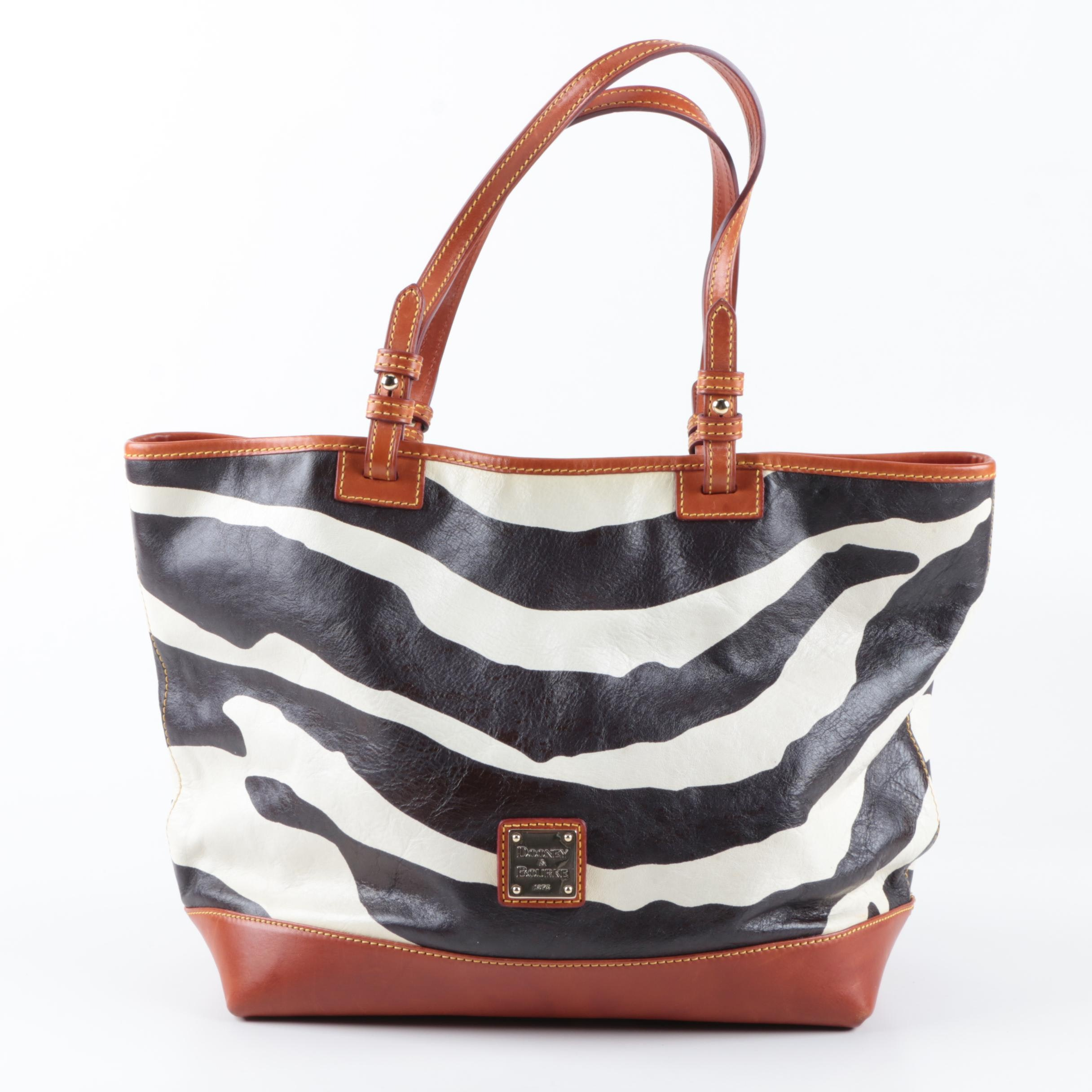 Dooney & Bourke Leather Zebra Print Tote