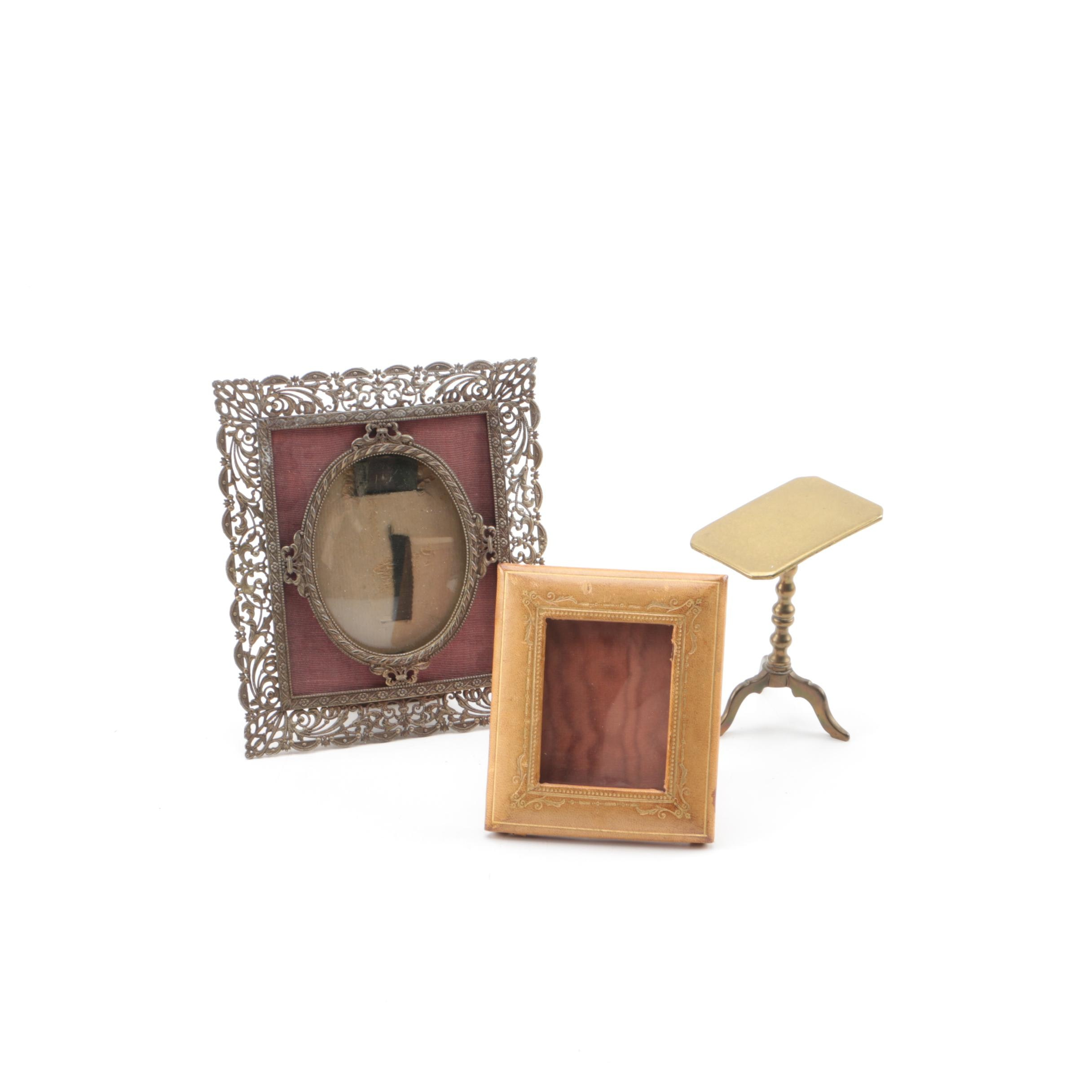 Vintage Brass, Metal, and Leather Photo Frames