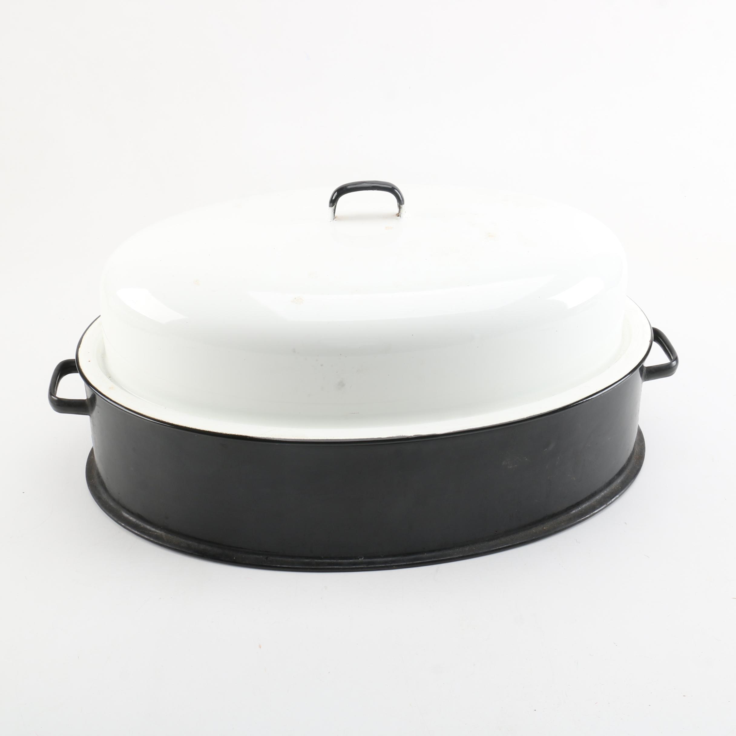 Vintage Black and White Enamelware Turkey Roaster