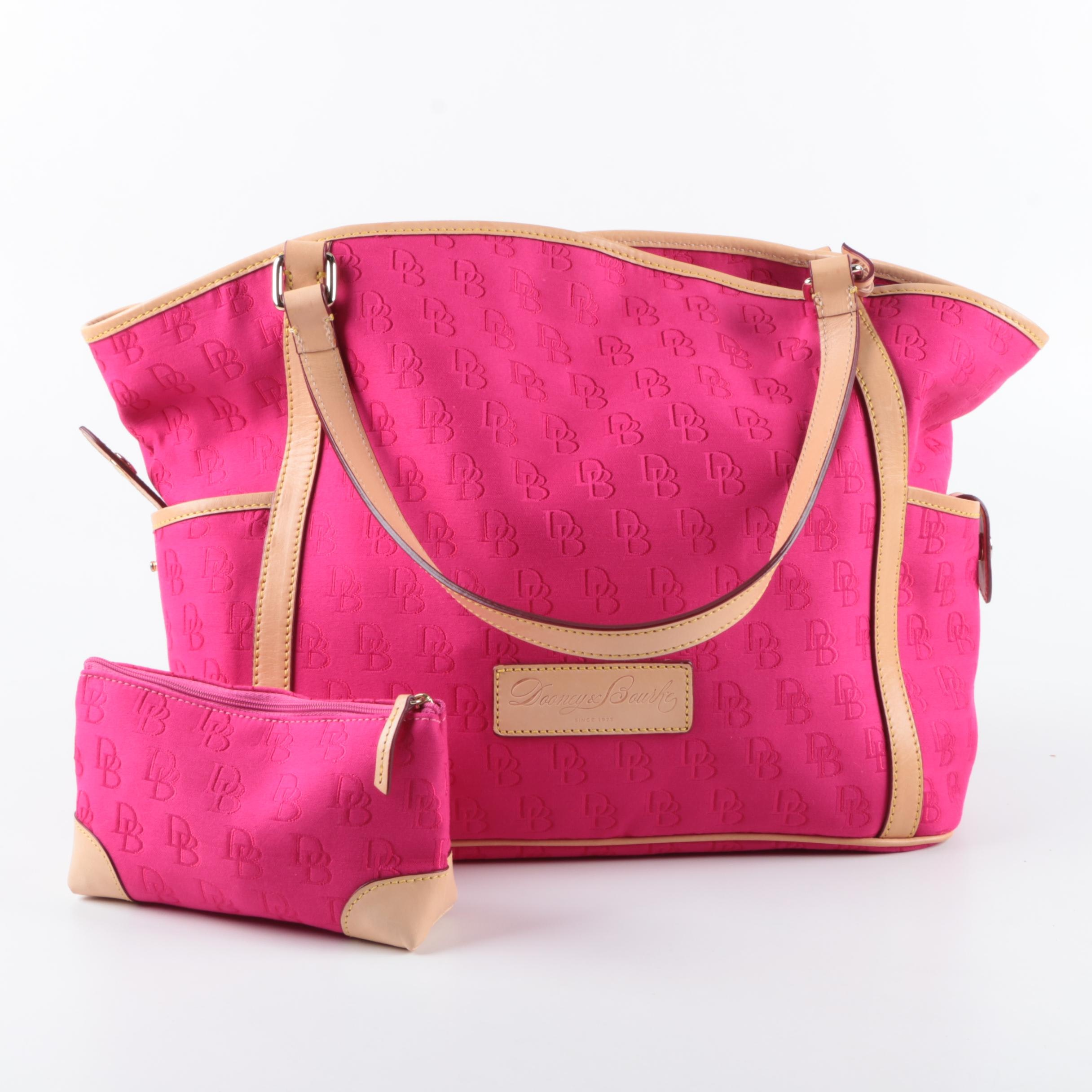 Dooney & Bourke Signature Hot Pink Canvas Tote and Pouch
