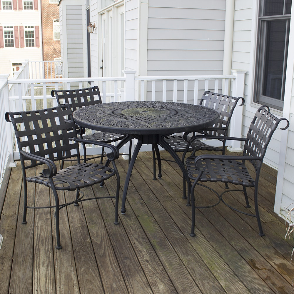 Patio Table with Four Arm Chairs