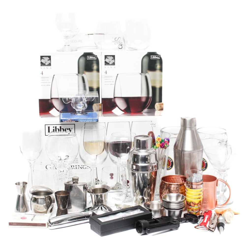 Barware Collection Including Libbey