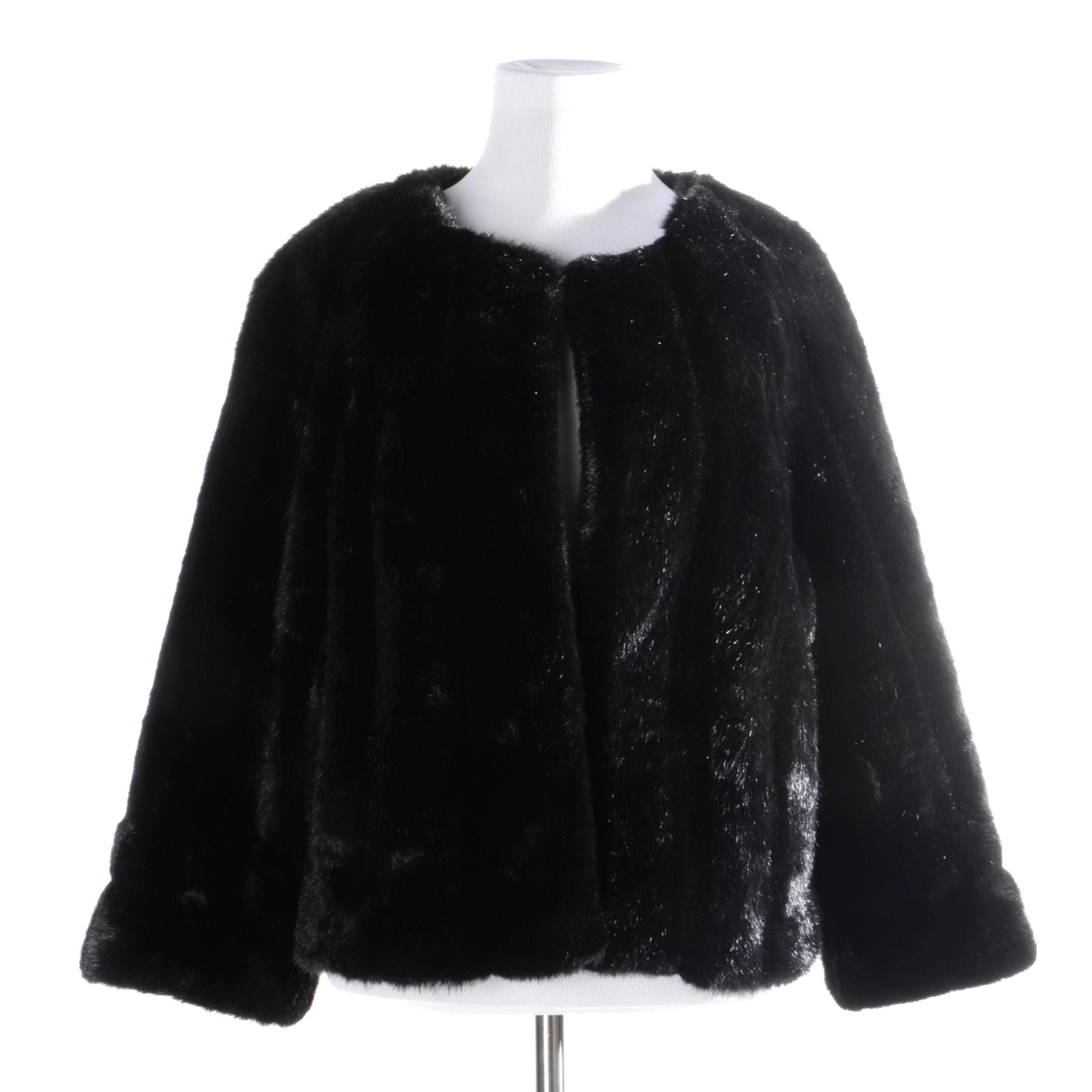 A.n.a Black Faux Fur Jacket