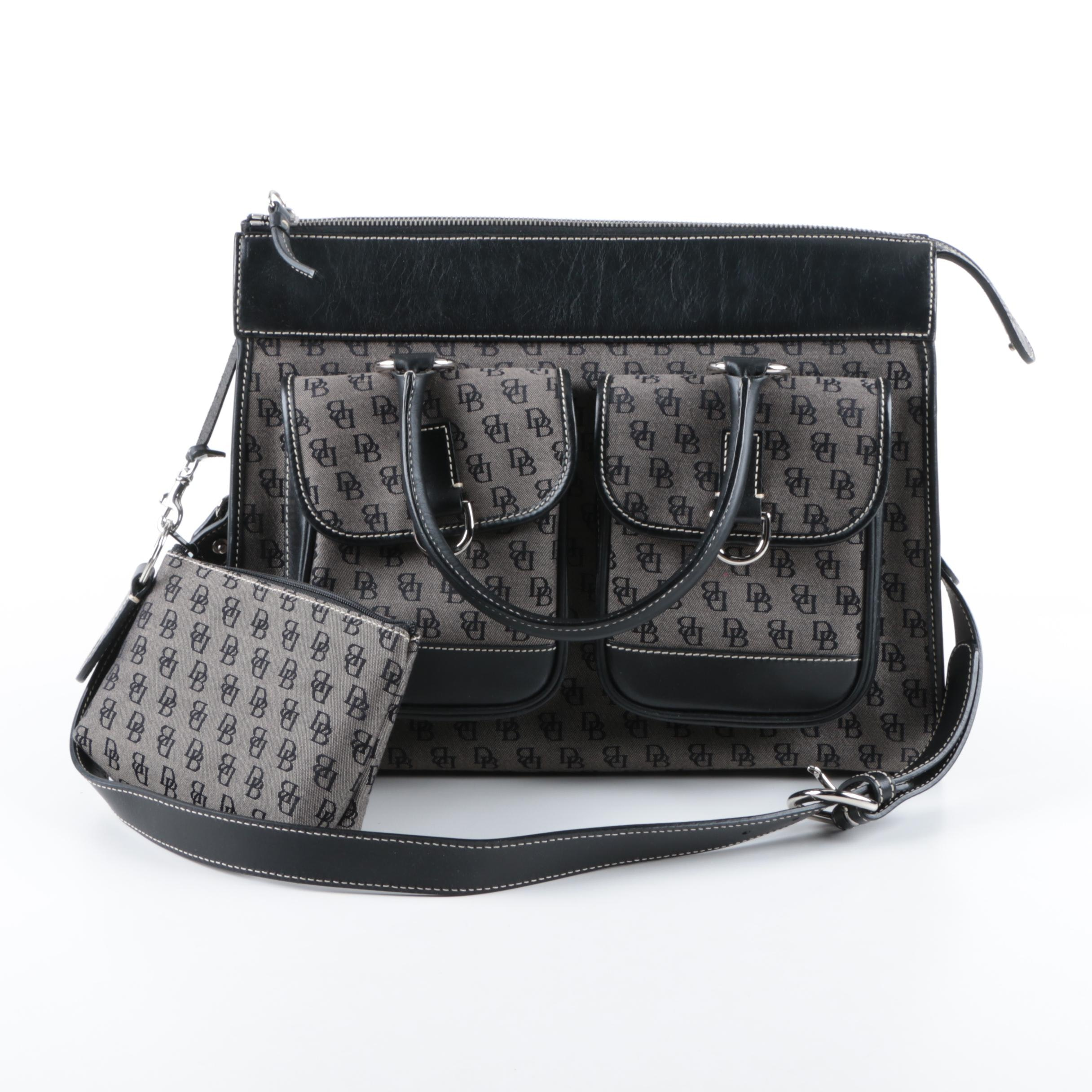 Dooney & Bourke Signature Canvas and Black Leather Double Pocket Tote