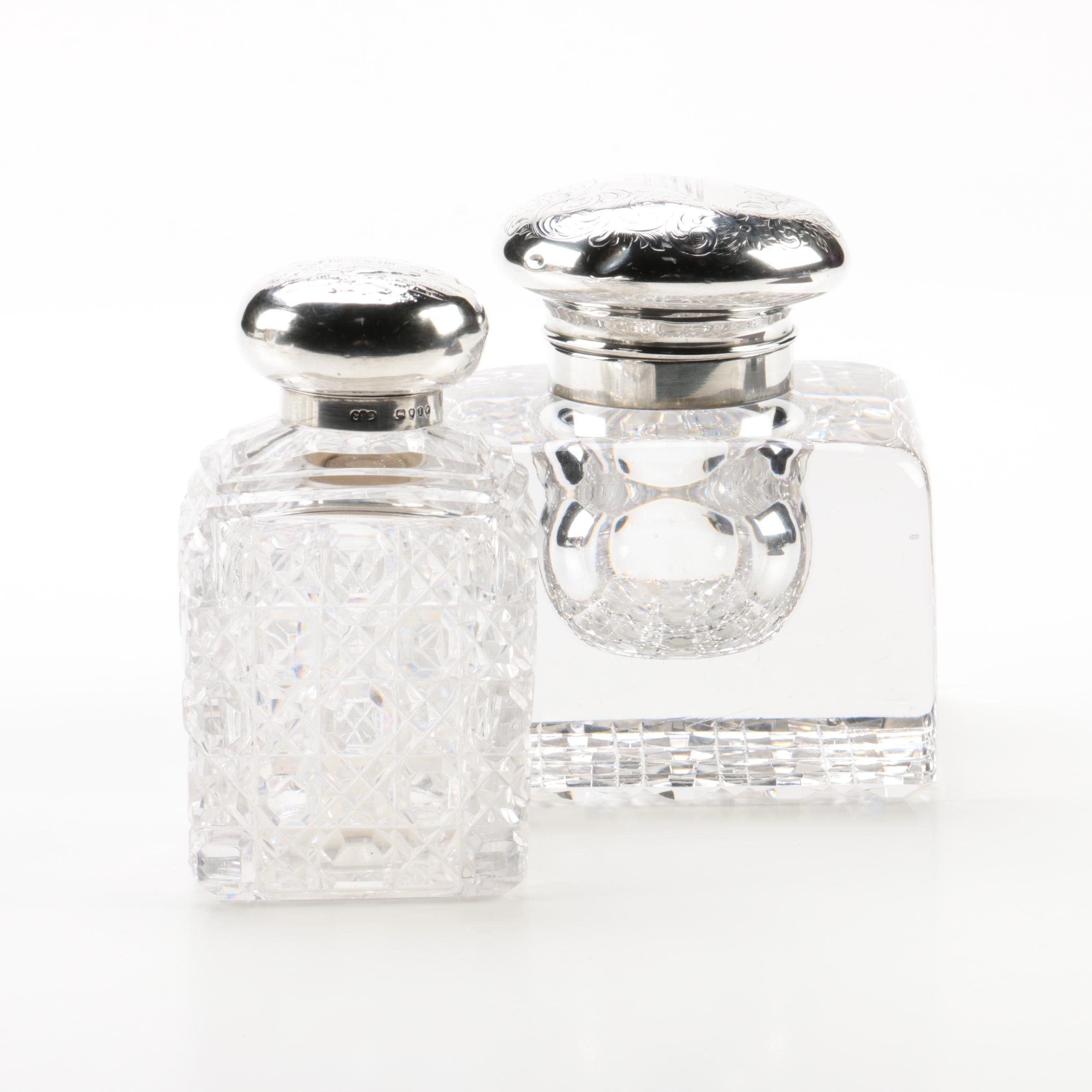 1884 John Septimus Beresford and 1909 Gorham Sterling Lidded Crystal Bottles