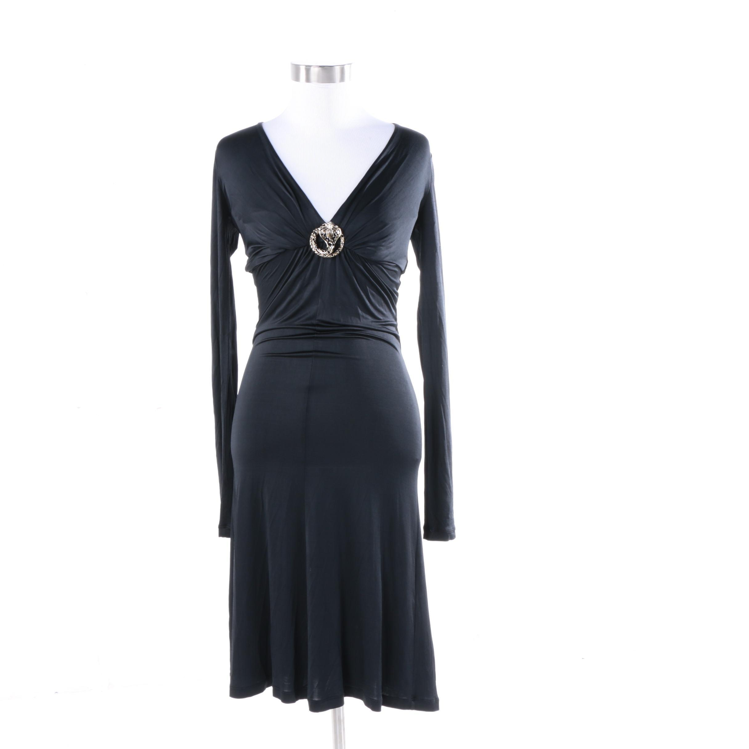 Roberto Cavalli Black Viscose Cocktail Dress