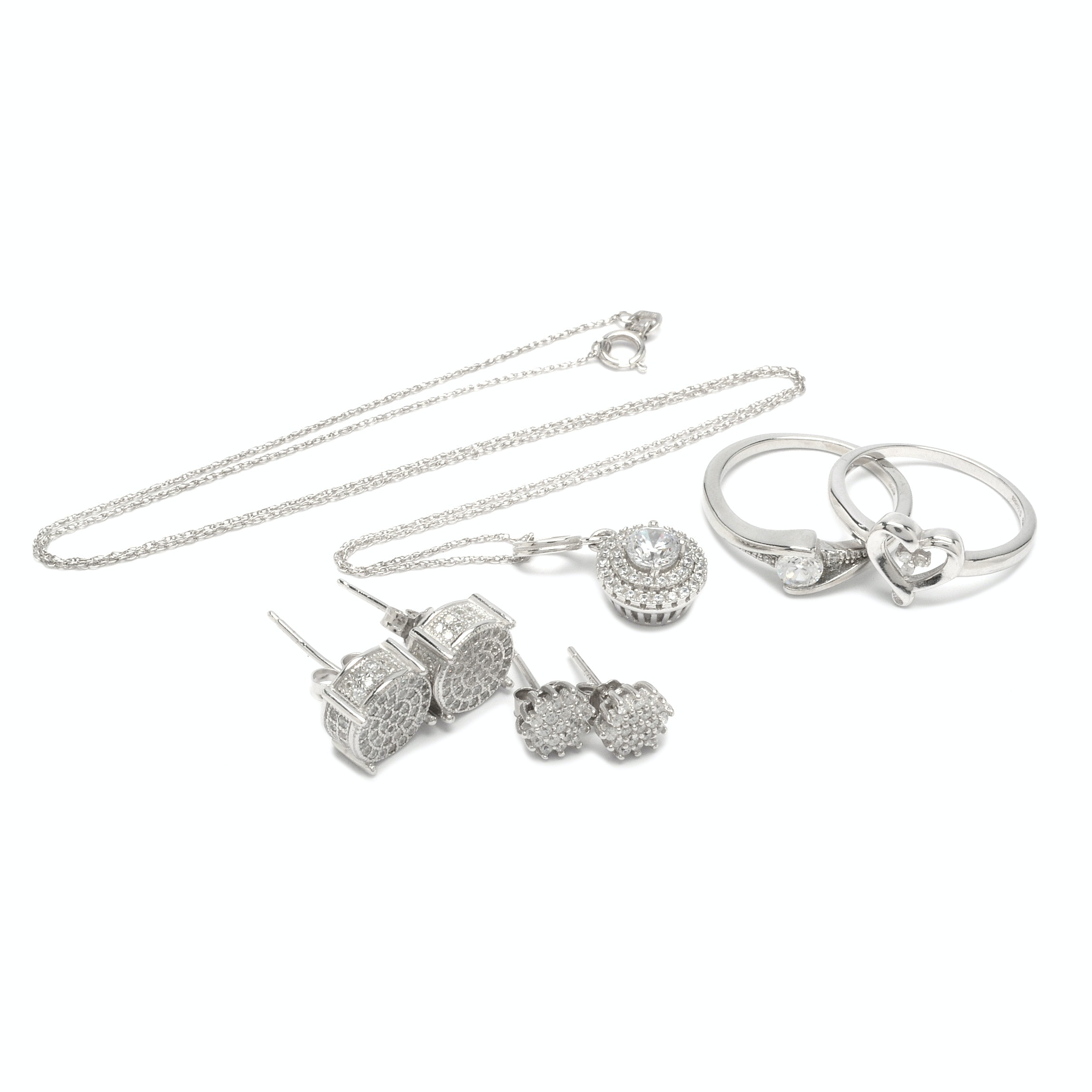 Sterling Silver Jewelry Including Cubic Zirconia and Diamond Accents