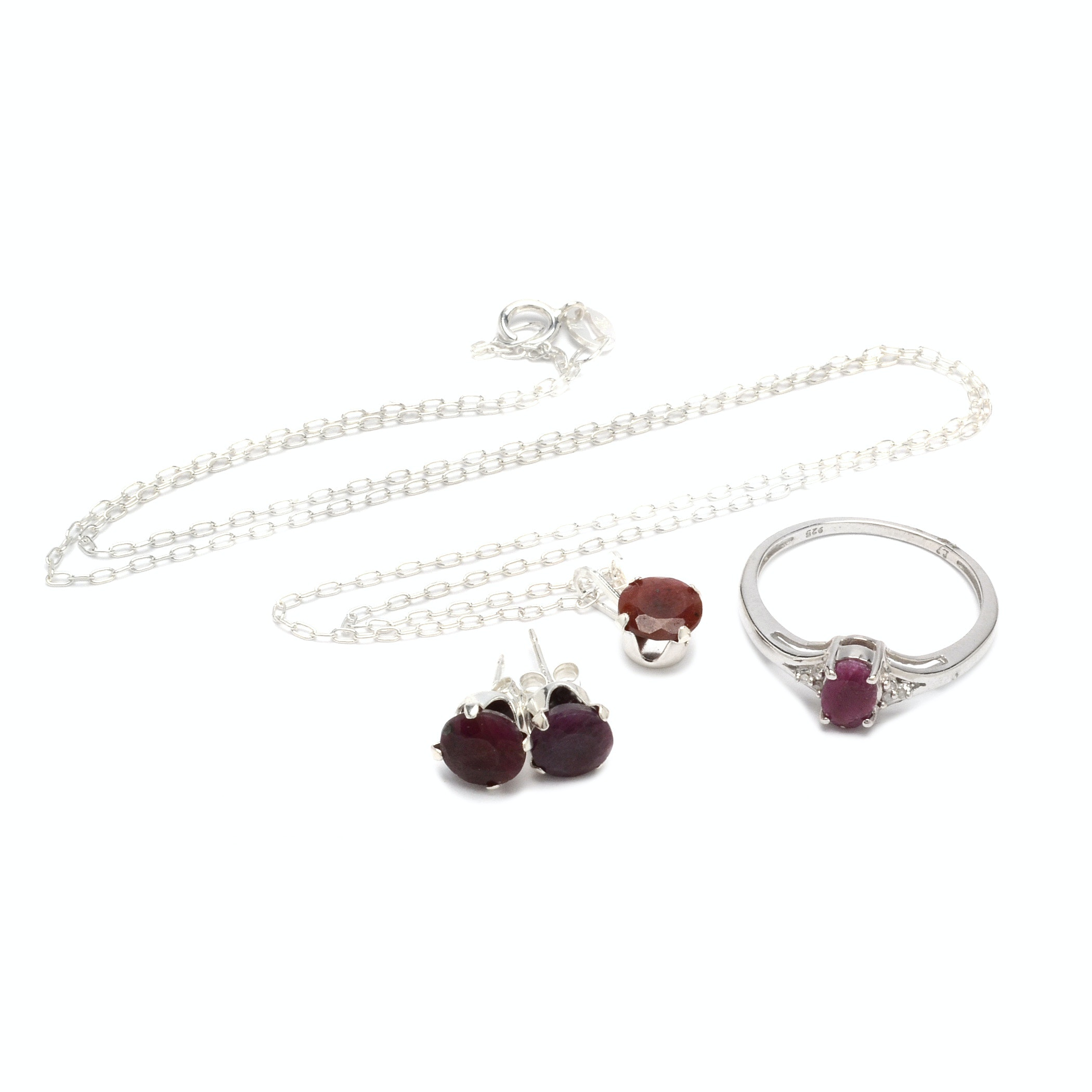 Sterling Silver Ruby and Diamond Demi Parure