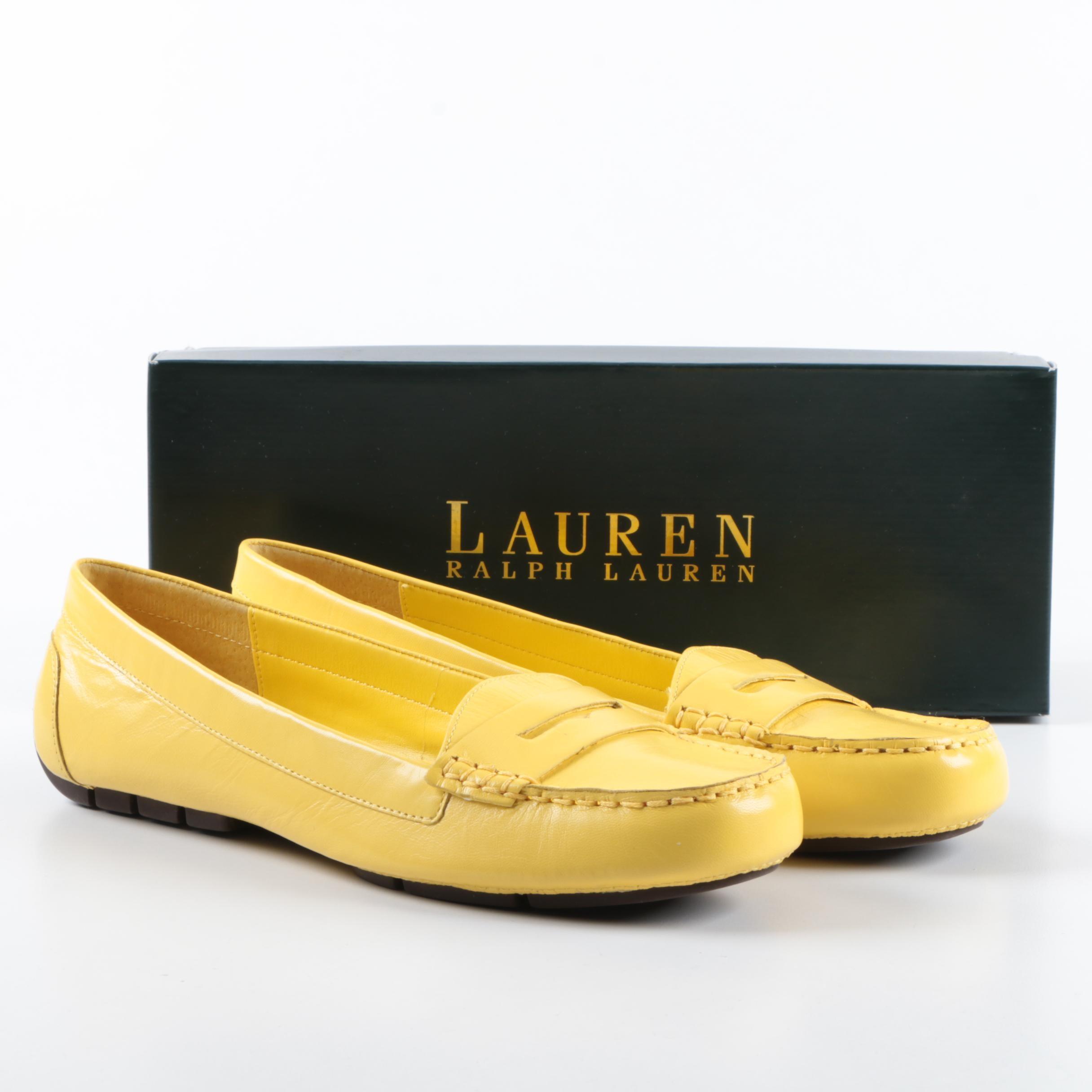 Women's Lauren Ralph Lauren Corita Yellow Leather Loafers