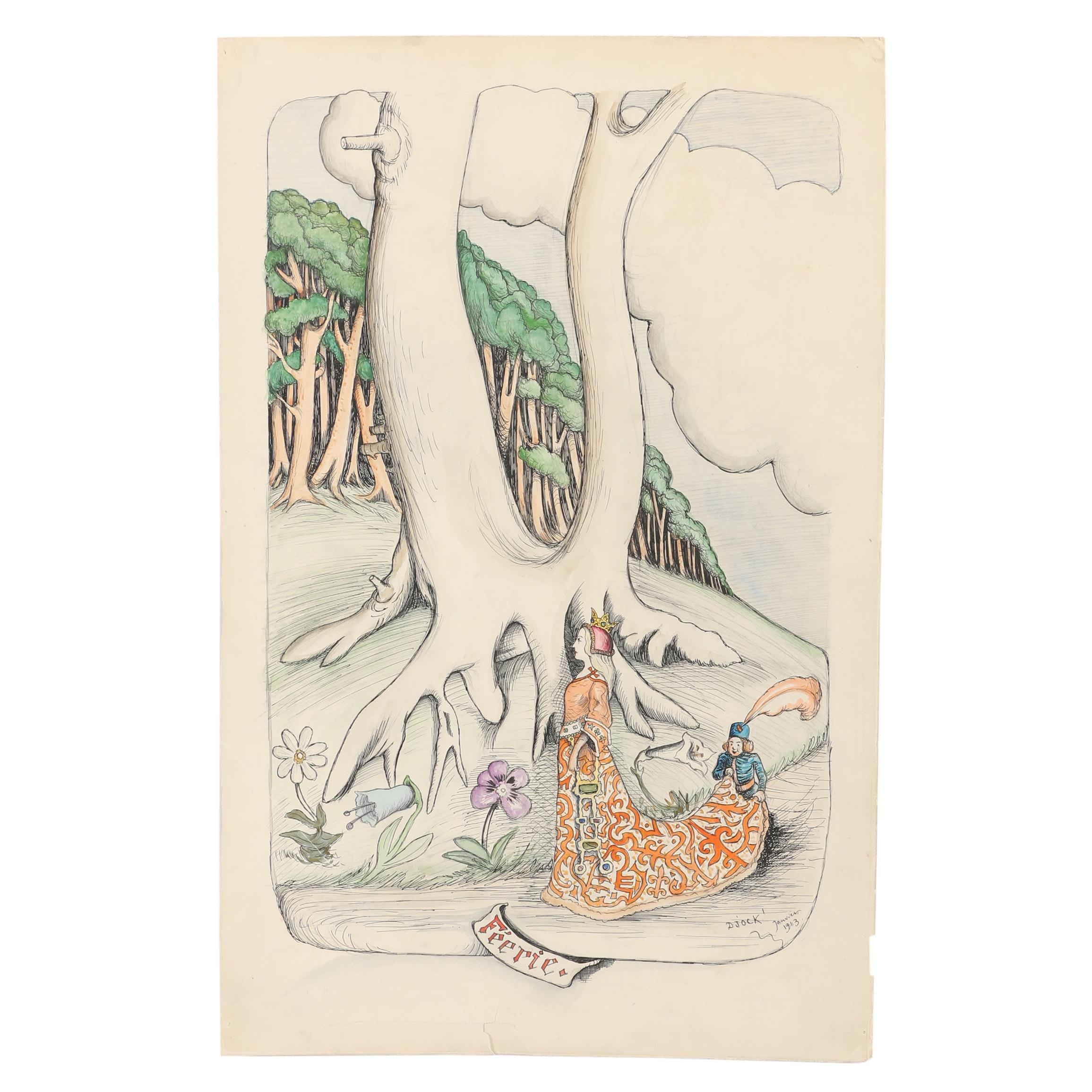 "D'Jock Janvier Ink and Watercolor Drawing ""Féerie"""