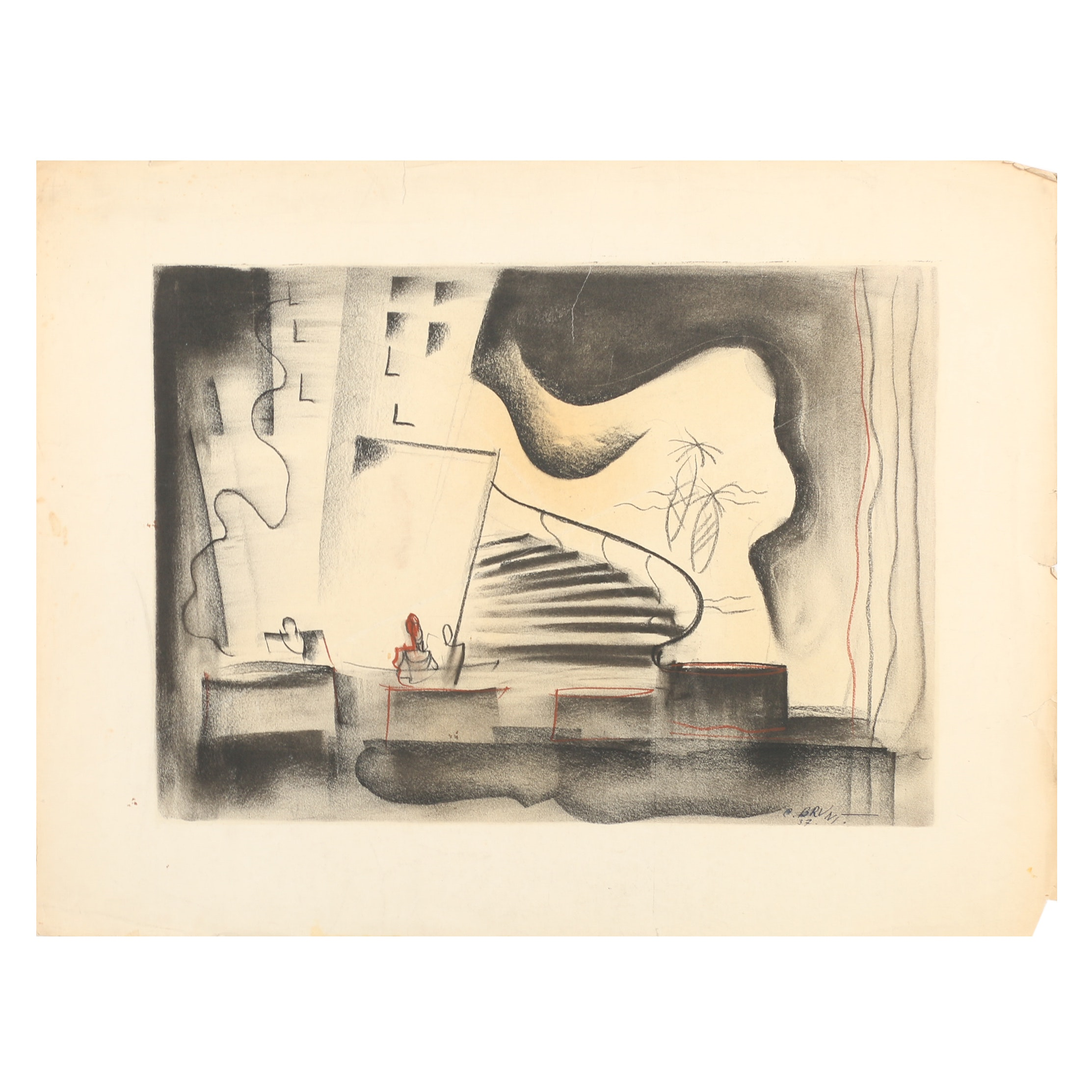 C. Brunt Drawing of an Abstract Composition