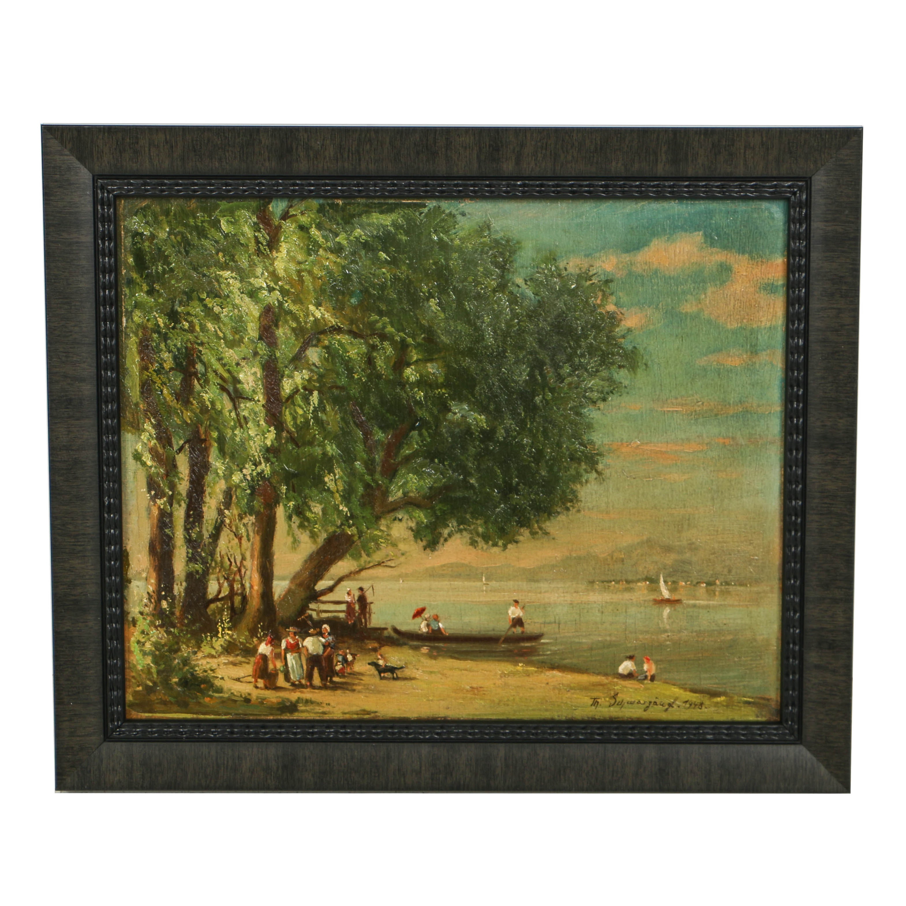 Oil Painting on Board of a River Bank Scene
