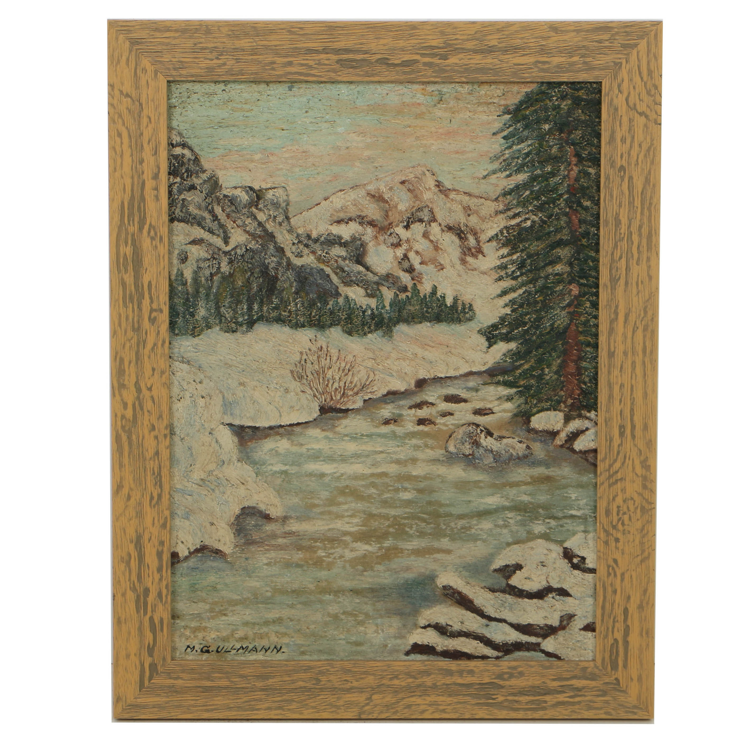 M.G. Ullmann Oil Painting on Wood of Mountainous Landscape