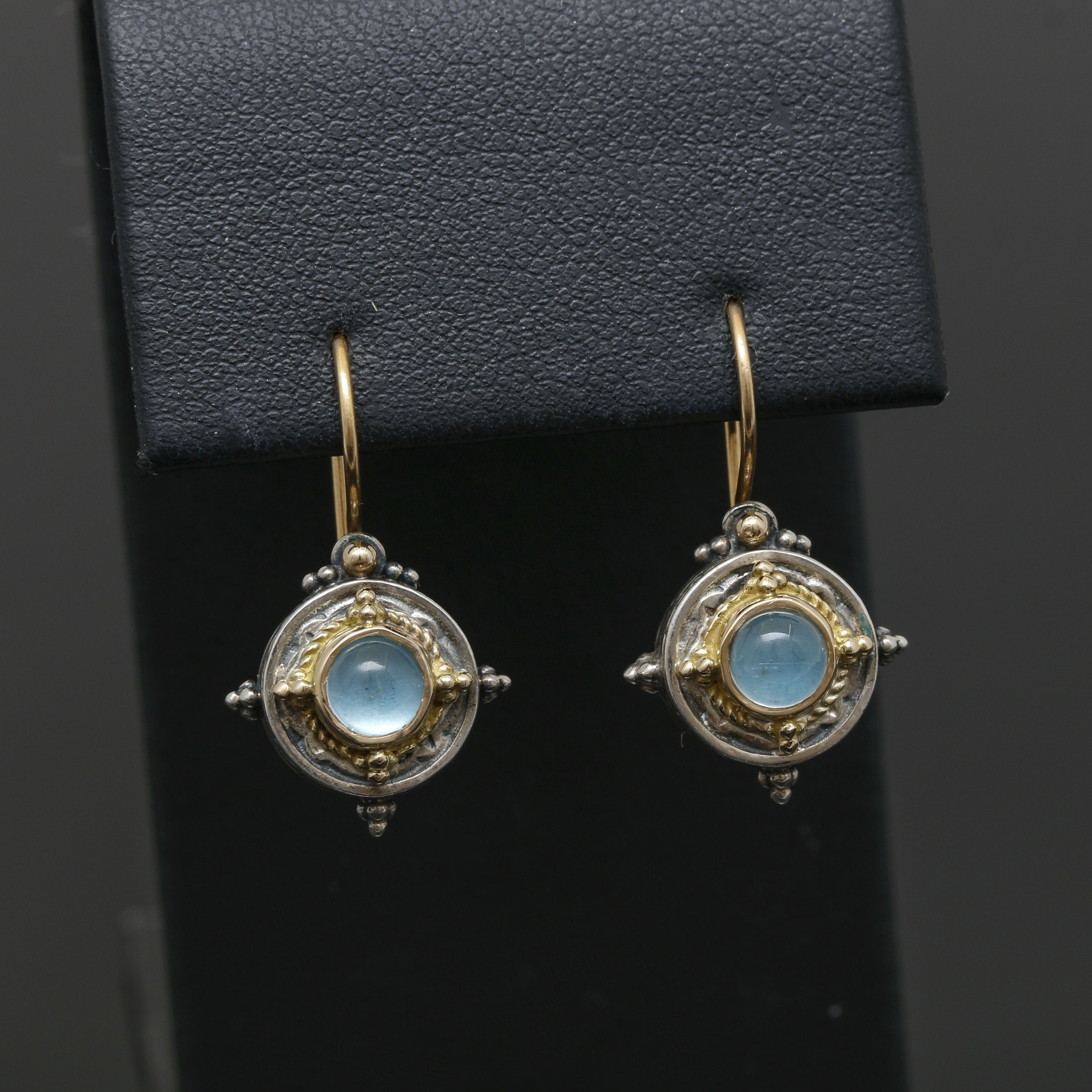 Sterling Silver and 18K Yellow Gold Aquamarine Earrings