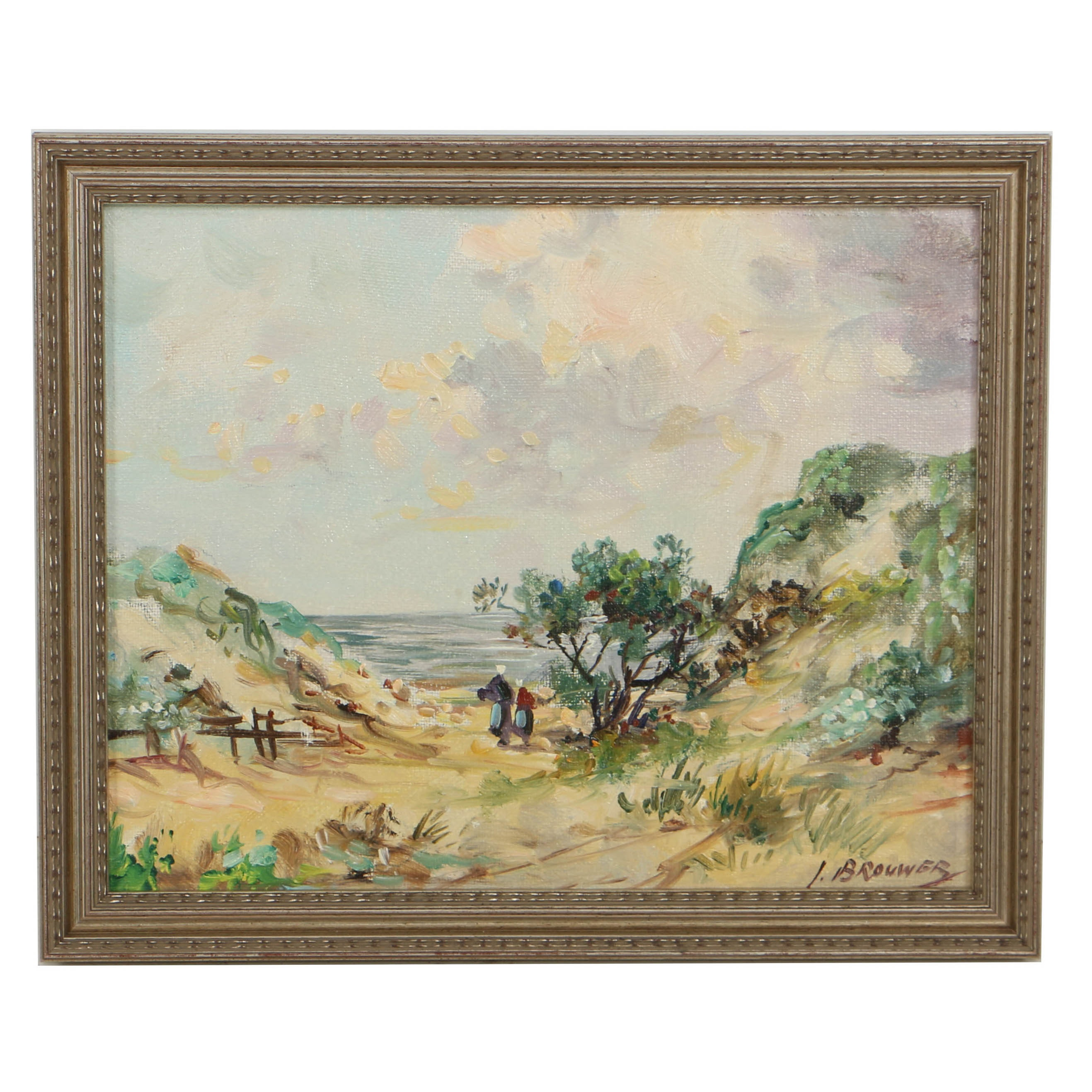 I. Brouwer Oil Painting on Canvas Board of Impressionistic Landscape
