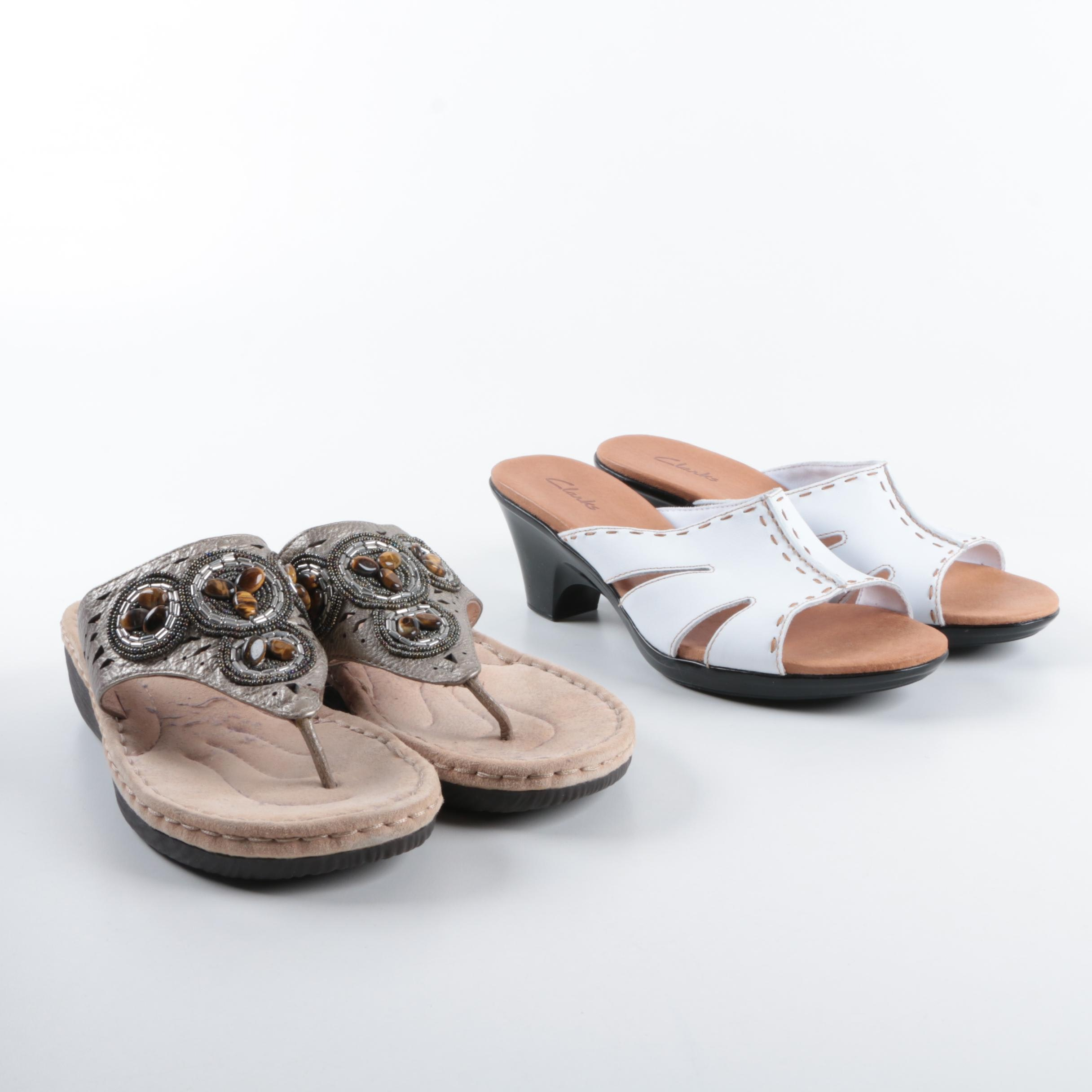 Women's Clarks Artisan Beaded Thong Sandals and Clarks White Slide Sandals