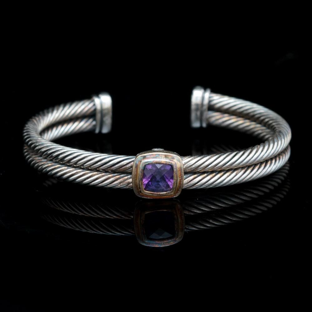 David Yurman Sterling Silver, 18K Yellow Gold and Amethyst Cuff Bracelet