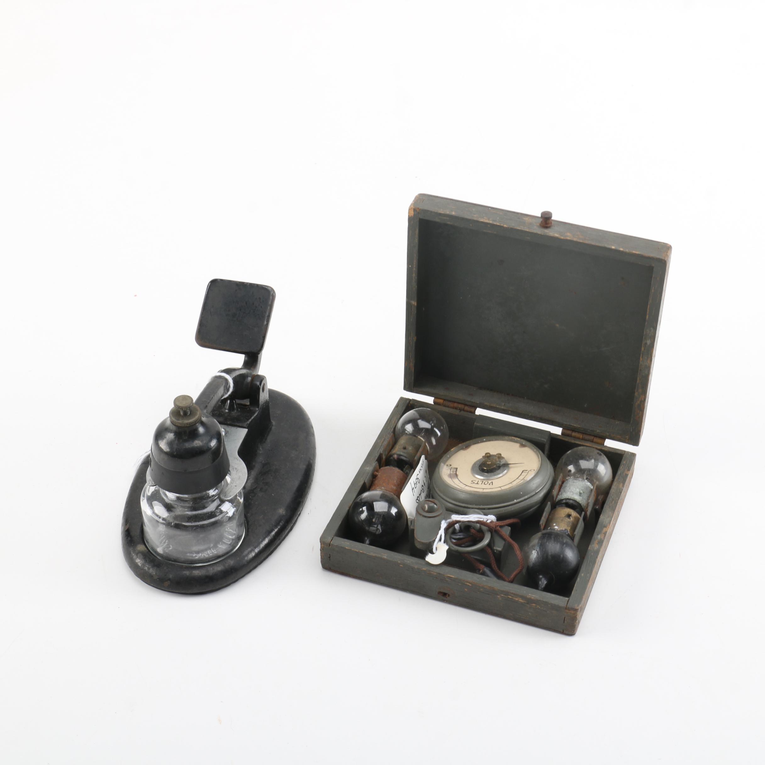 Vintage Voltmeter Kit and Inkwell