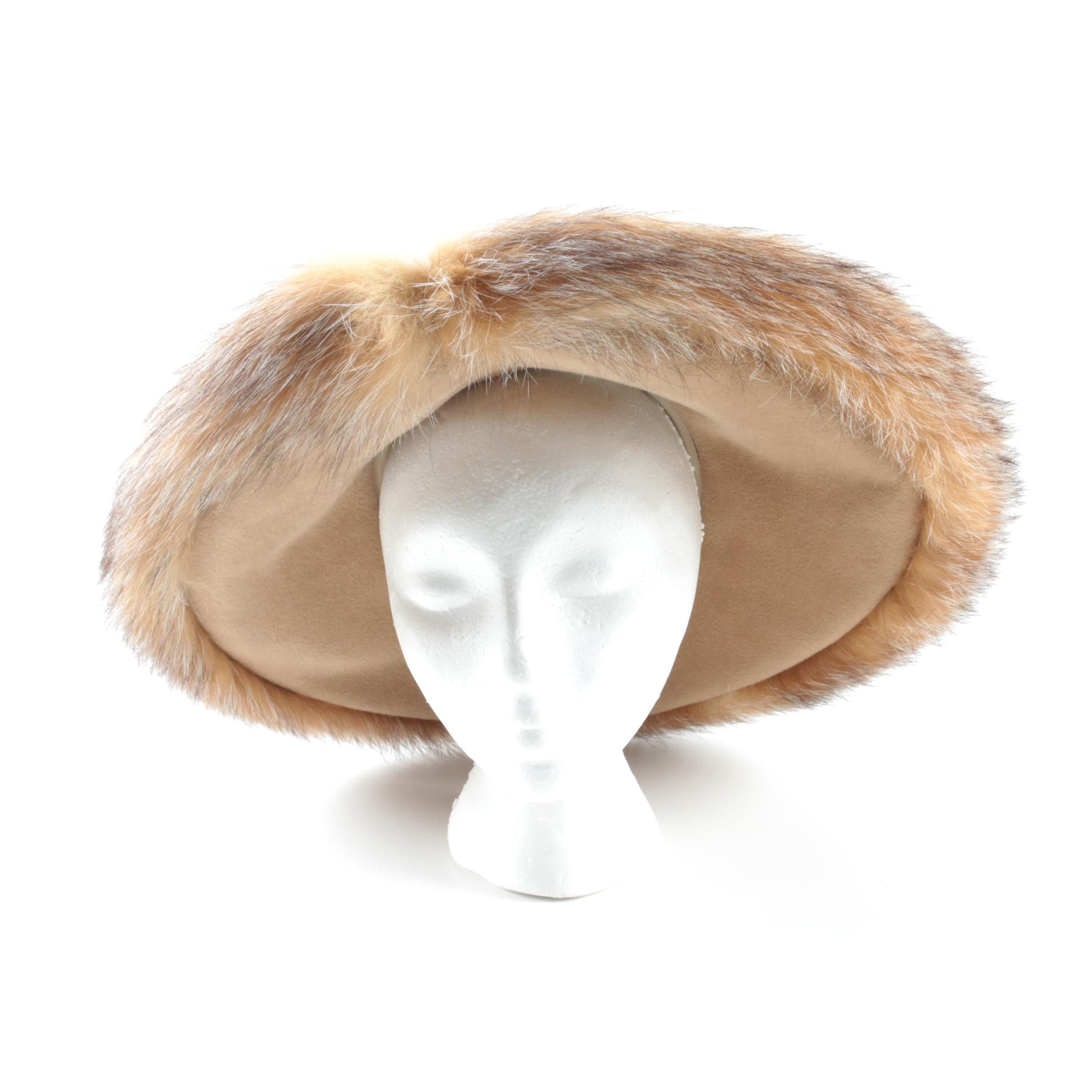 Women's Vintage Gabriel Amar for Frank Olive Felt Hat with Red Fox Fur Trim