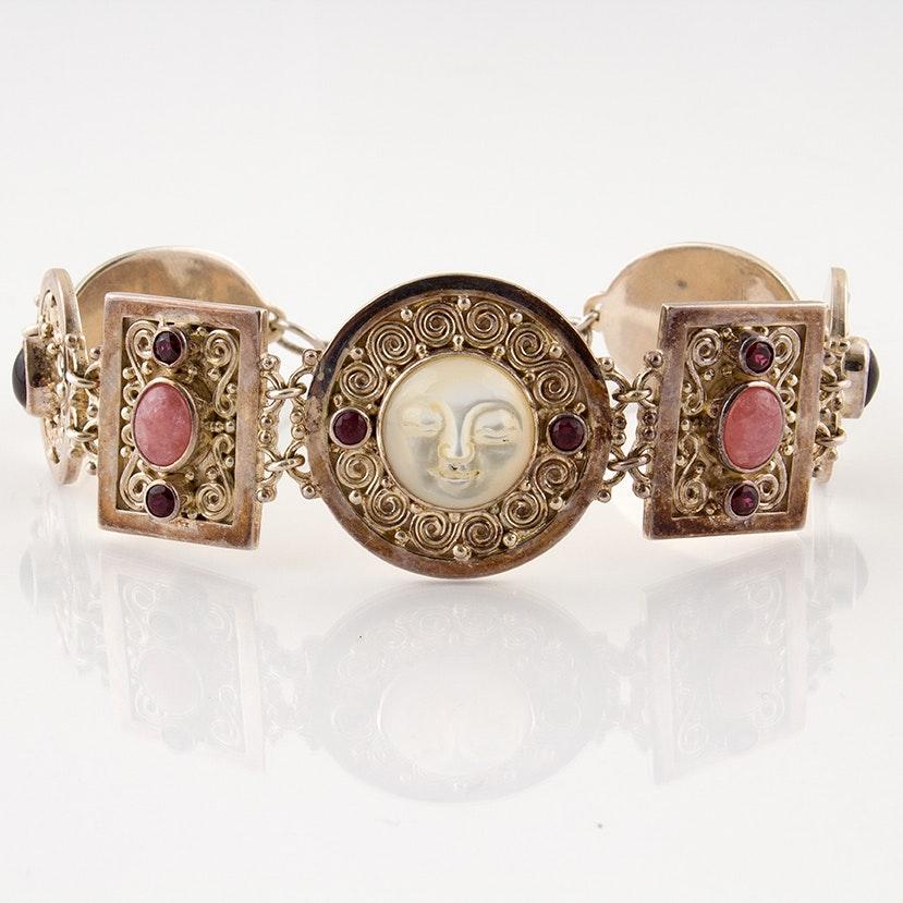 Sajen Sterling, Garnet, Moonstone and Mother of Pearl Charm Bracelet