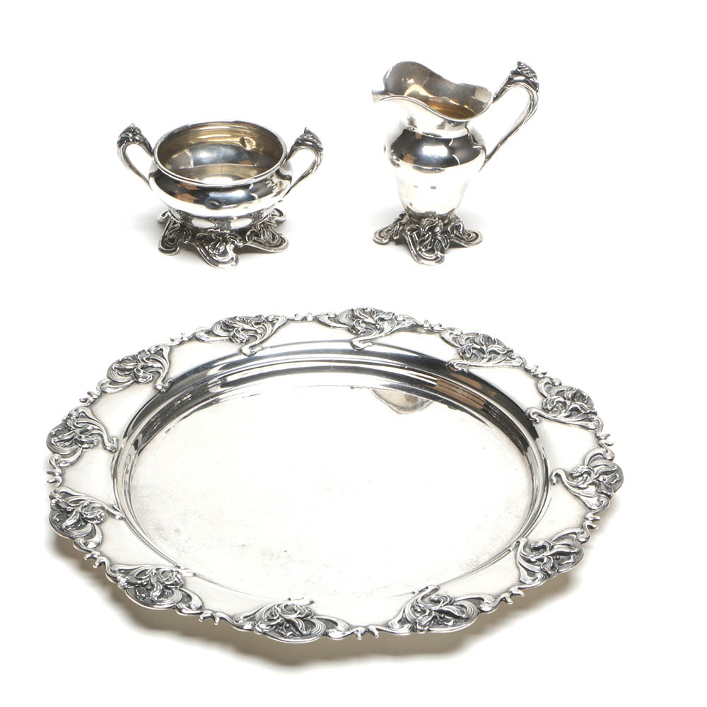 Sterling Silver Chased Iris Motif Coffee Service