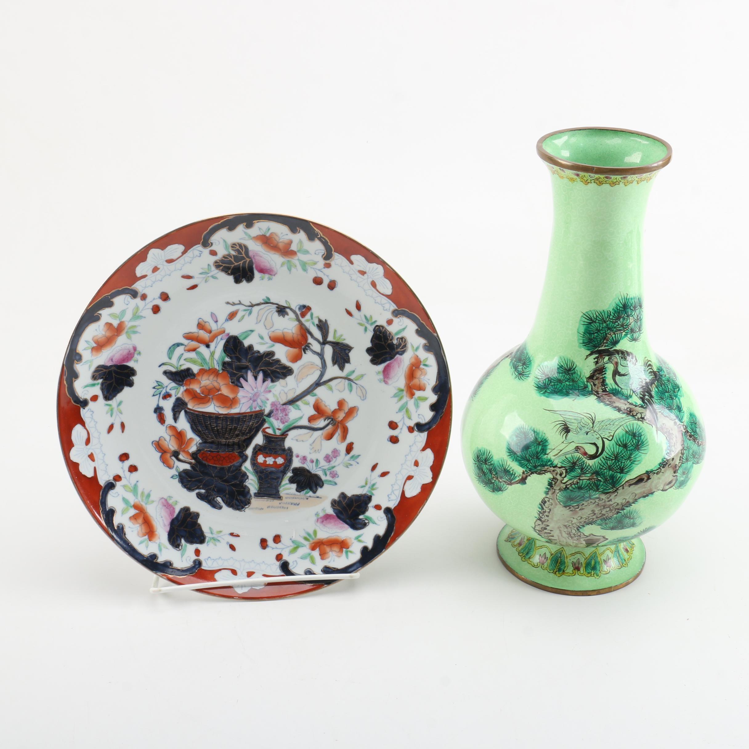 Chinese Enamel Vase and Imari Style Plate