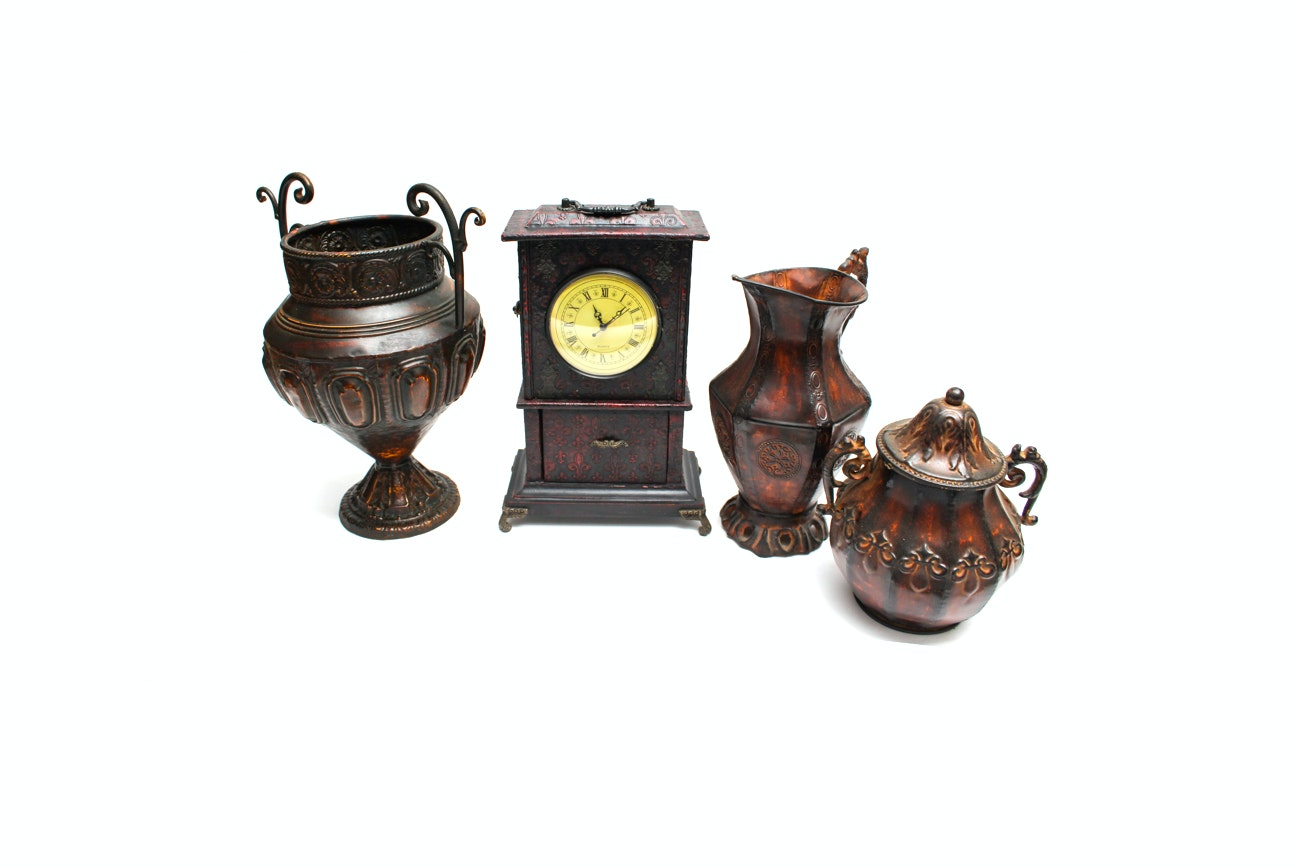 Decorative Metal Urns and Carriage Clock Jewelry Box