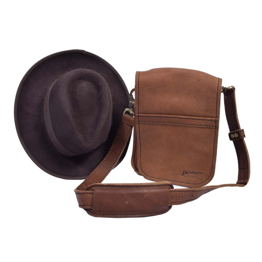 Indiana Jones Wool Hat and Leather Satchel