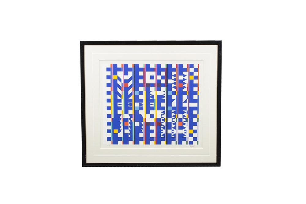"Yaacov Agam Limited Edition Serigraph ""Movement in Bleu Space"""