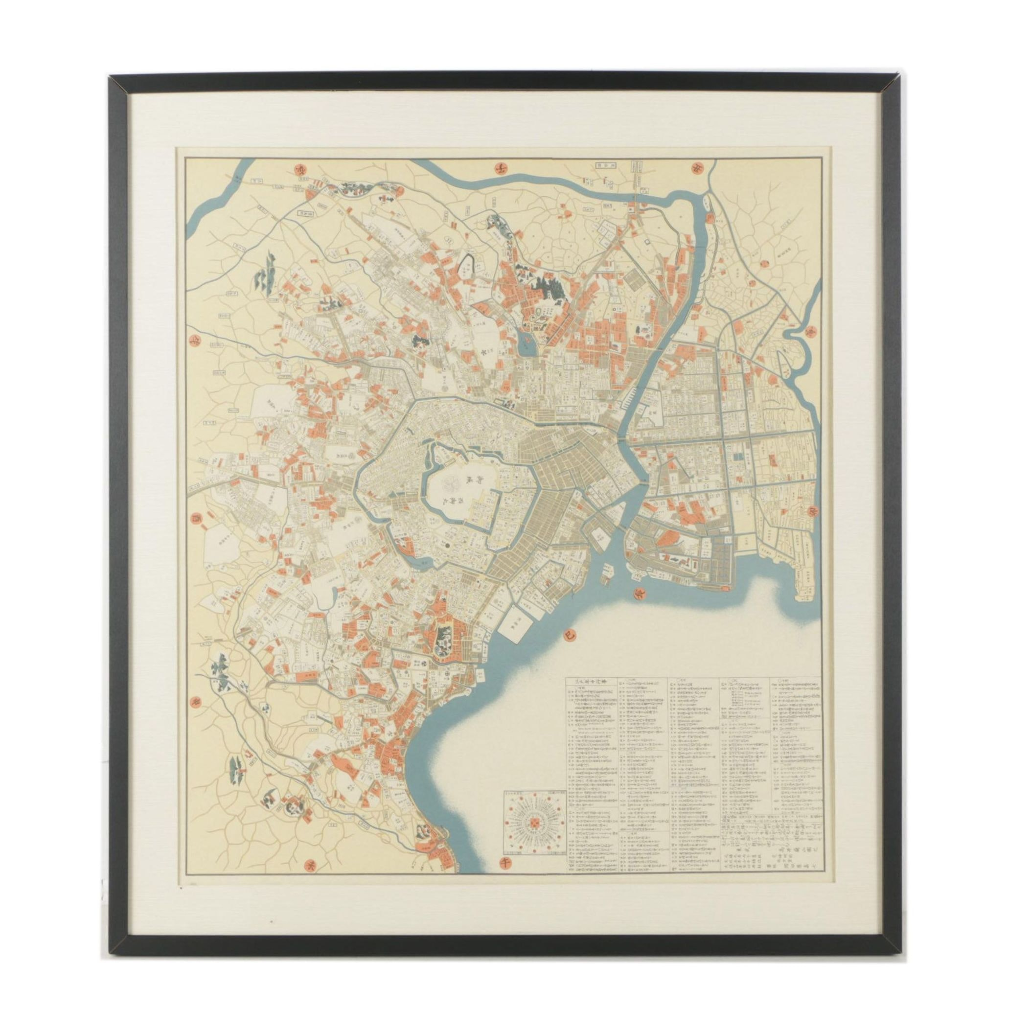Japanese Woodblock Print Map