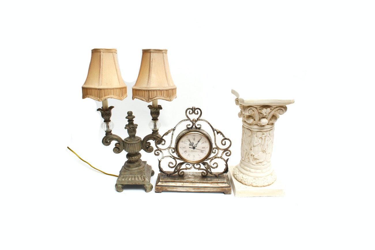 Richard Ward Manchester Clock, Plaster Column, and Double Candelabra Table Lamp