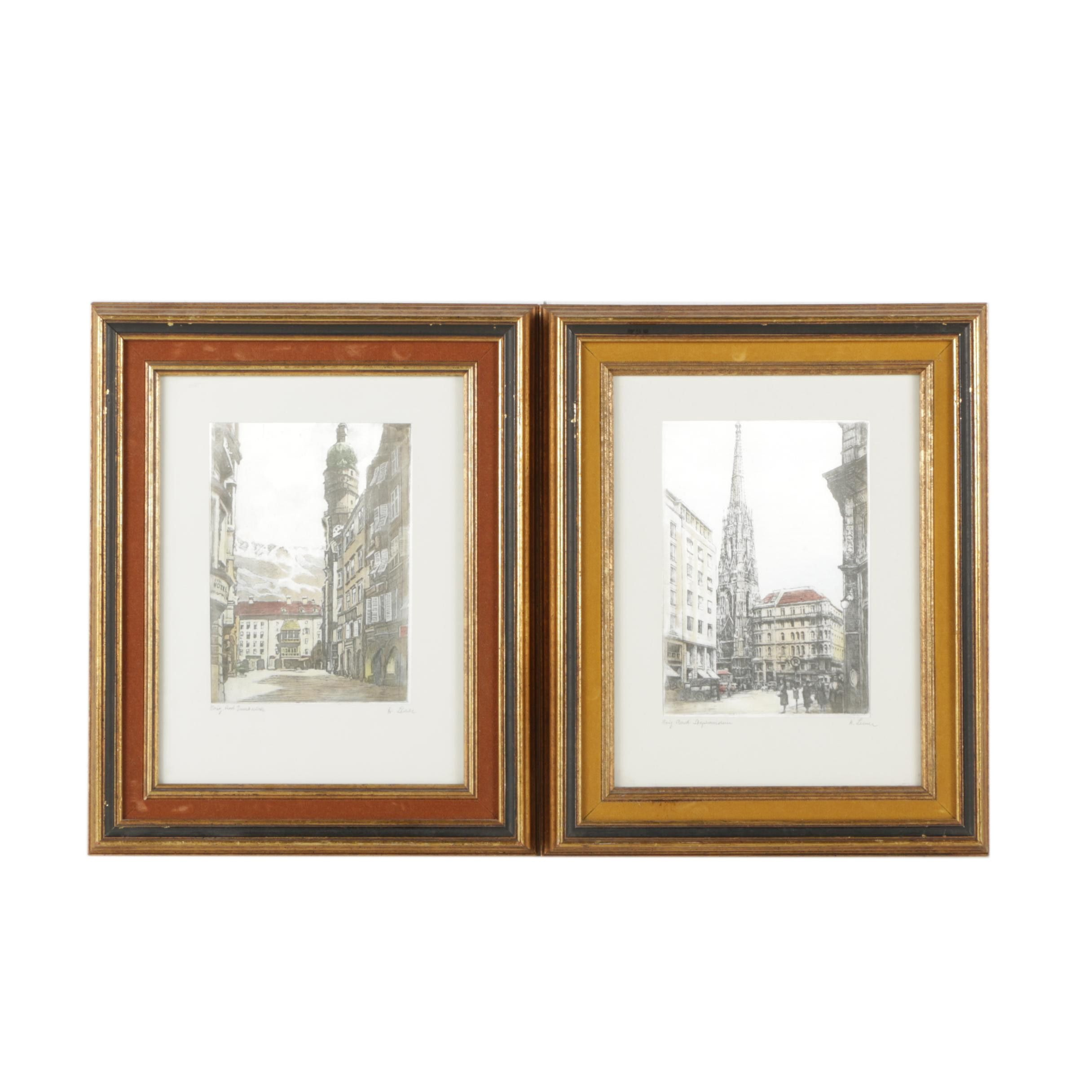 Etchings of Street Views on Fabric